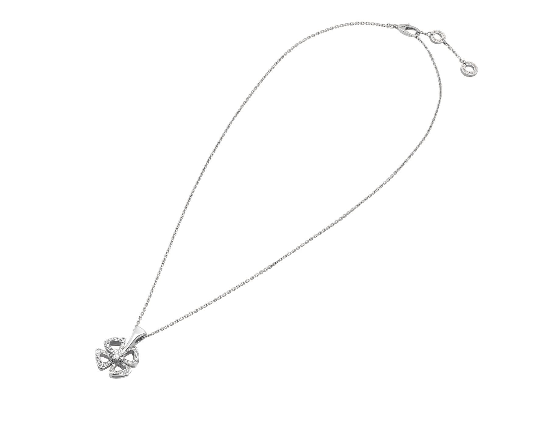 Fiorever 18K 白金項鍊,鑲飾 1 顆明亮型切割鑽石(0.10 克拉)和密鑲鑽石(0.06 克拉)。 358157 image 2