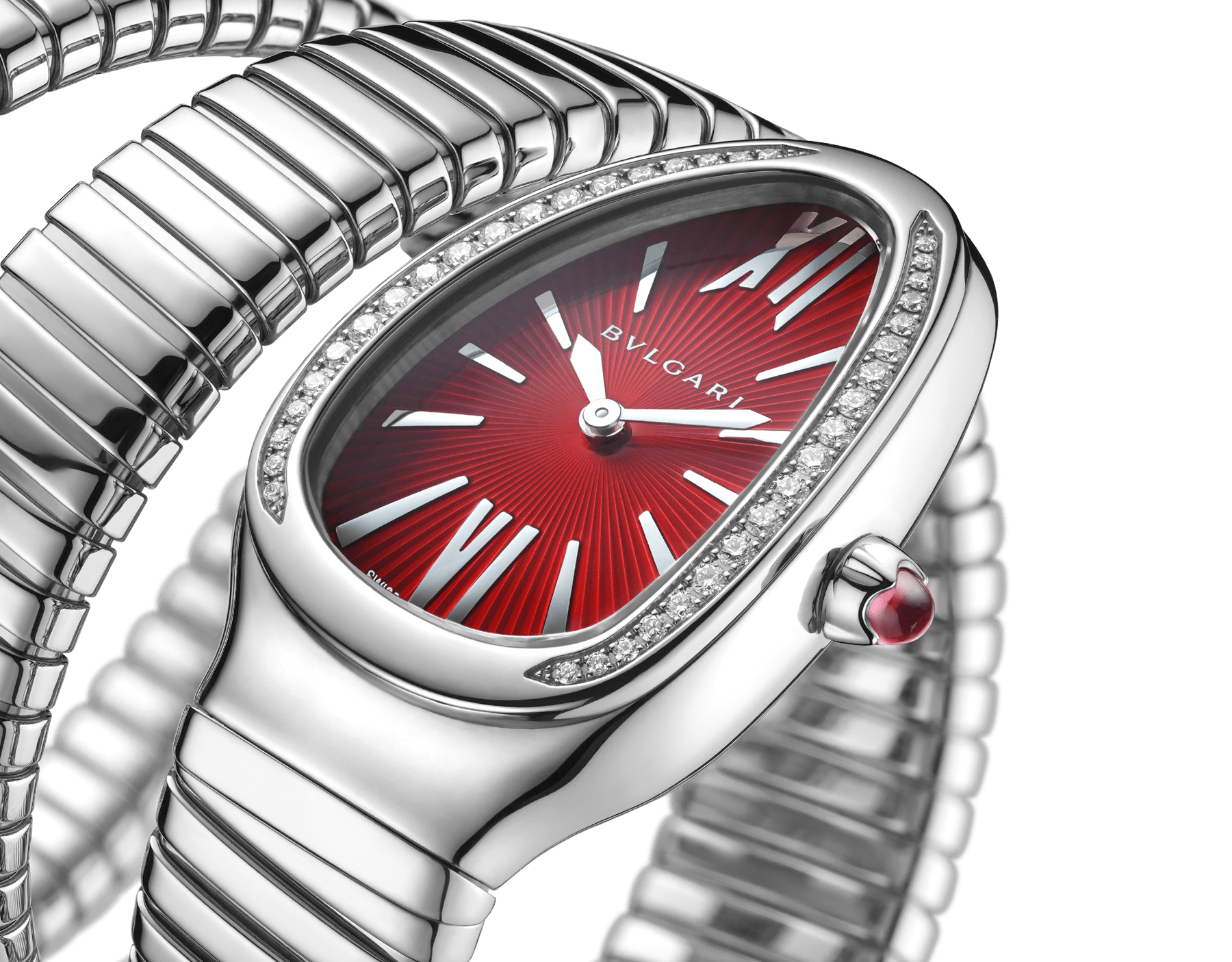 Serpenti Tubogas double spiral watch with stainless steel case set with brilliant cut diamonds, red lacquered dial and stainless steel bracelet. 102682 image 3