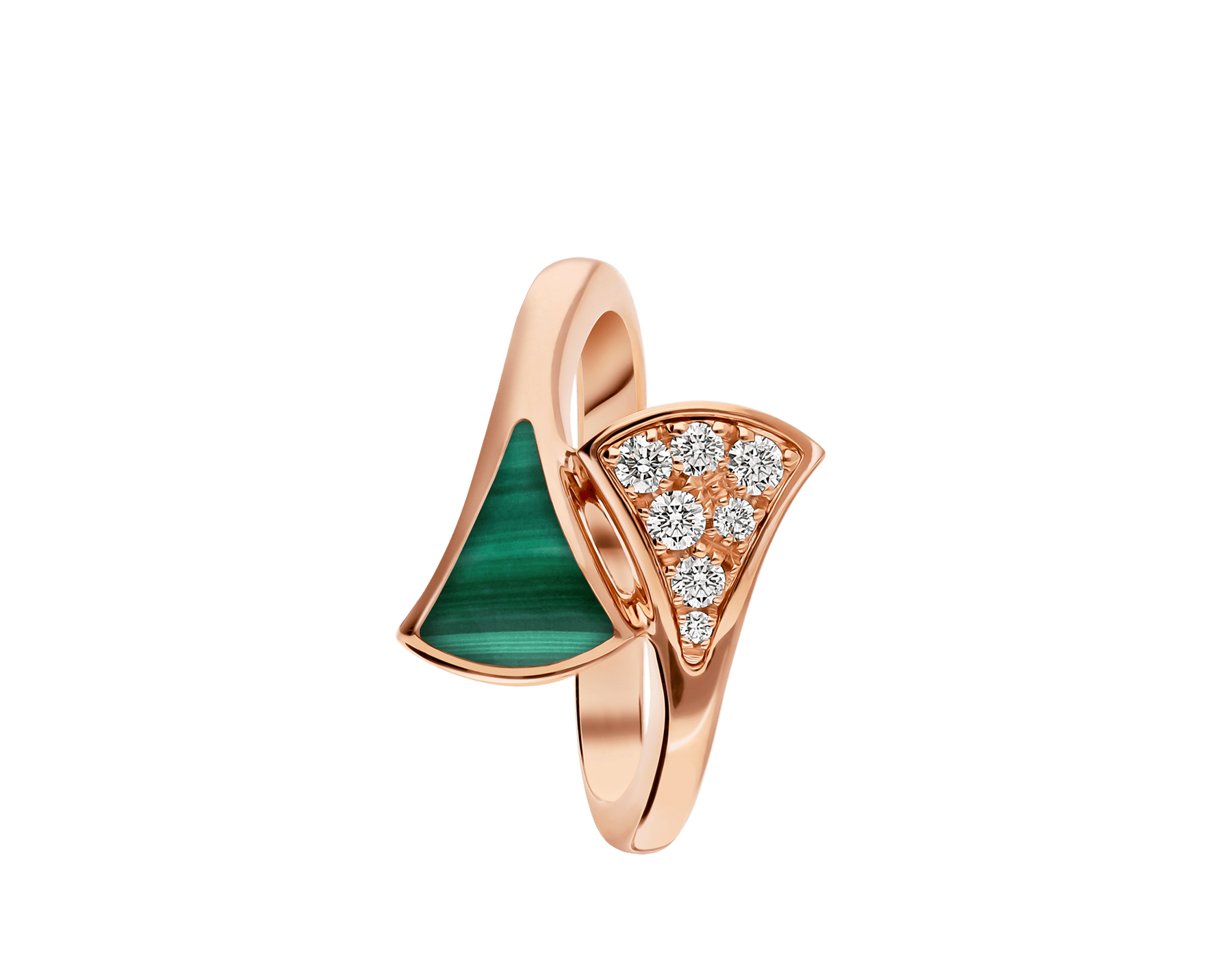 DIVAS' DREAM 18 kt rose gold ring set with malachite element and pavé diamonds (0.10 ct) AN858646 image 2