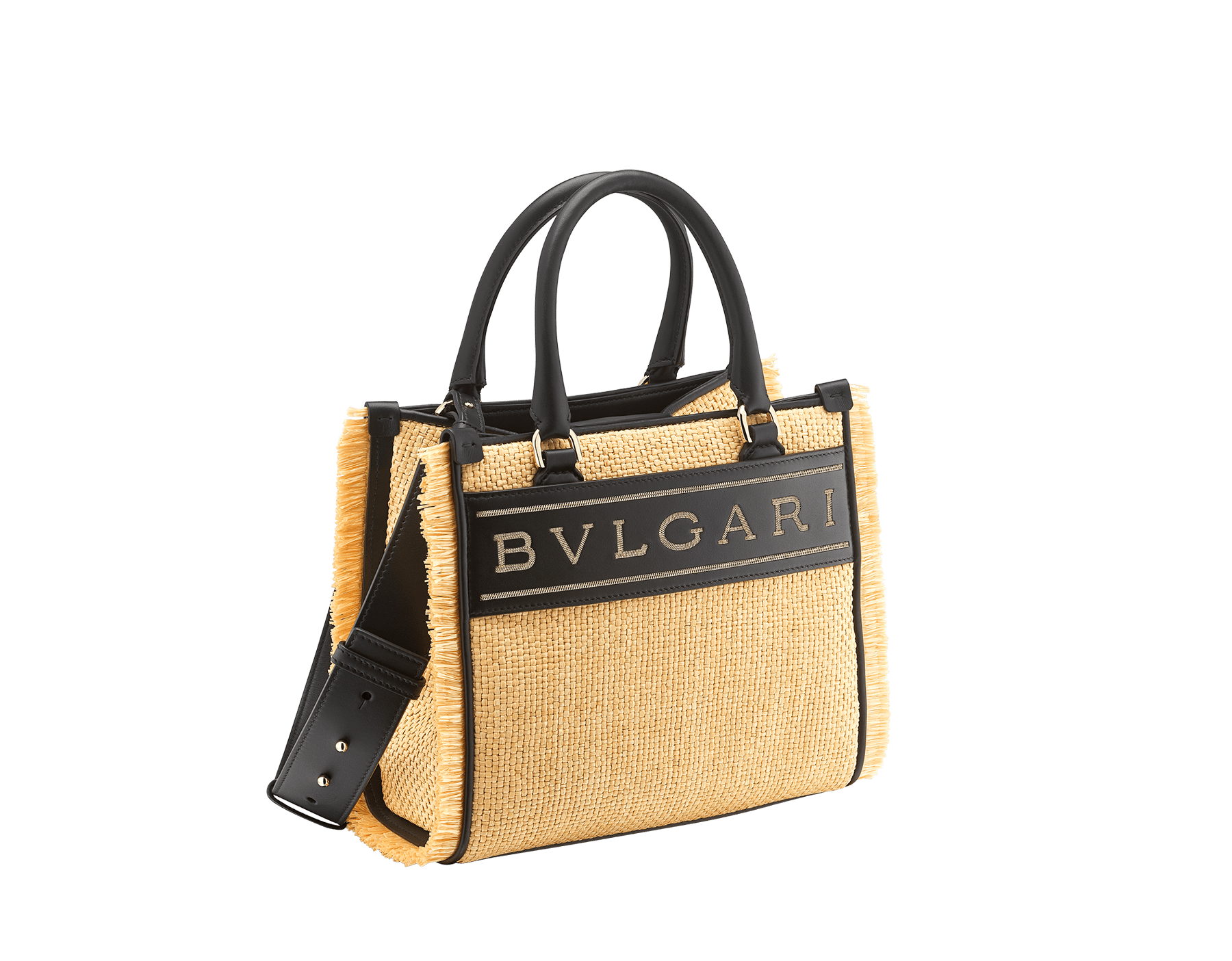 """Bvlgari Logo"" tote bag in beige raffia enhanced with beige raffia fringes, and black grosgrain internal lining. Bvlgari logo featured with chain inserts on the black calf leather. 290953 image 2"