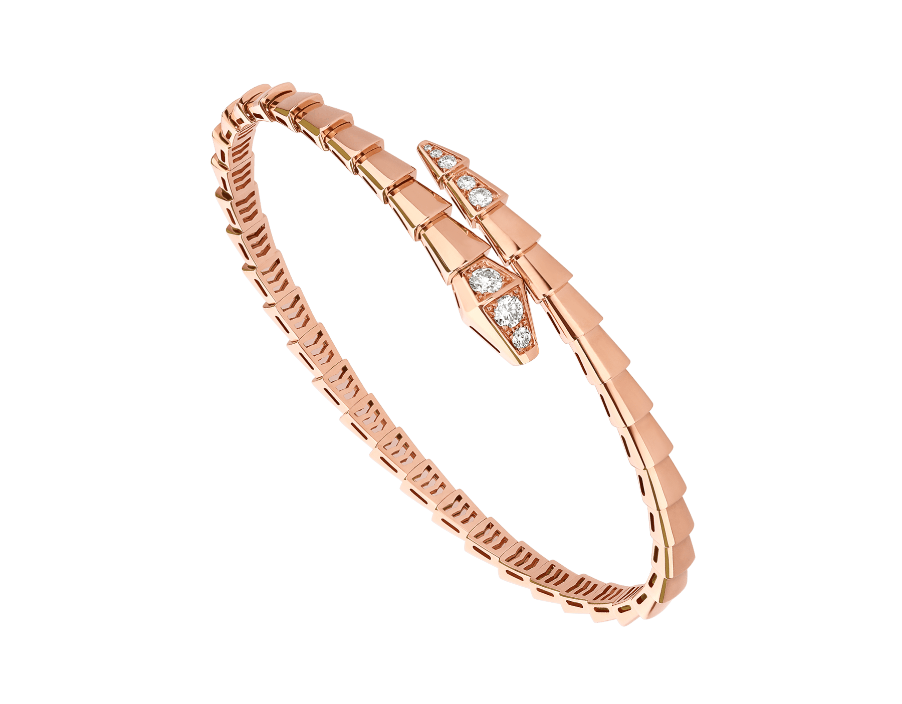 Serpenti Viper 18 kt rose gold bracelet set with demi-pavé diamonds BR858812 image 1