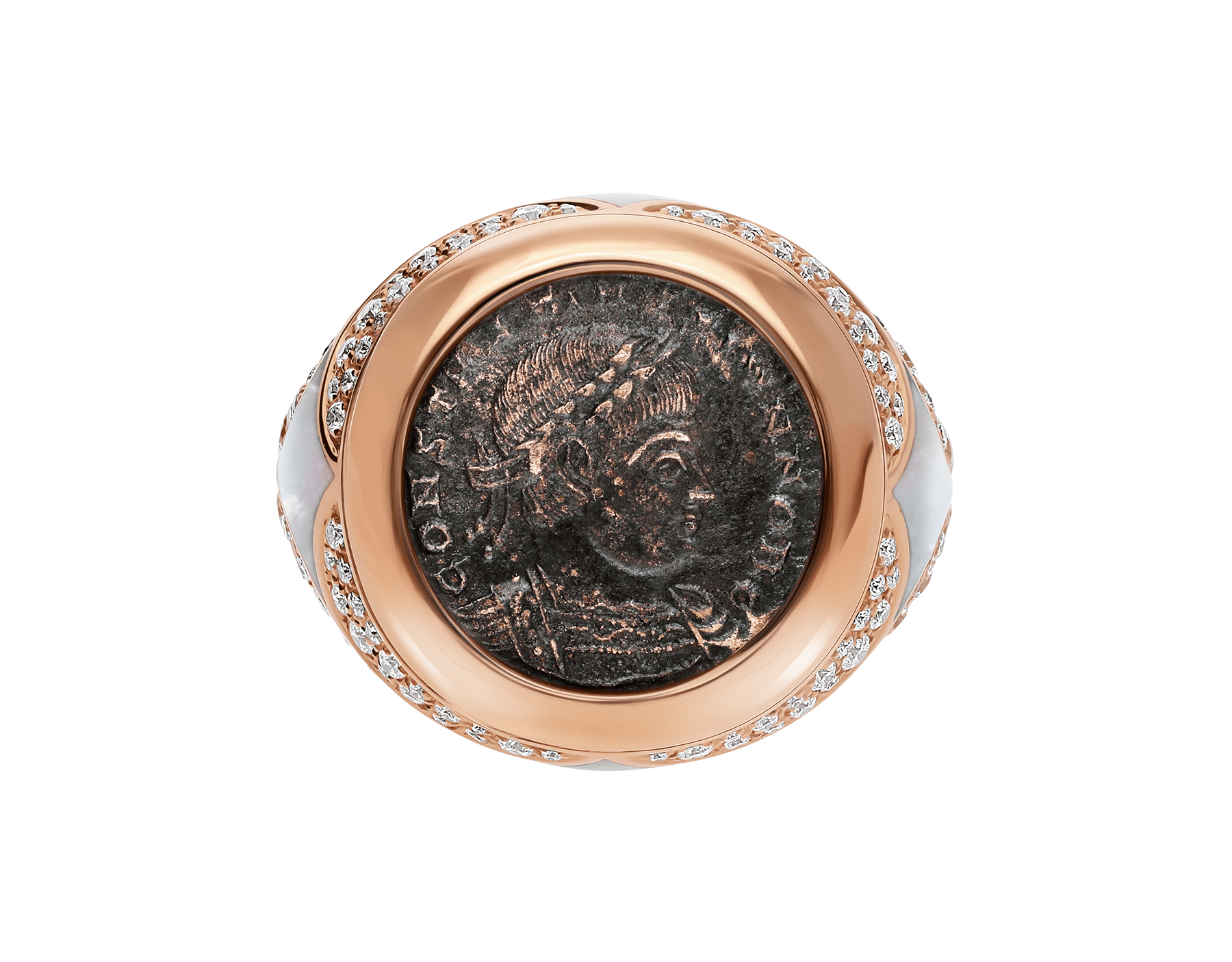 Monete 18 kt rose gold ring set with an ancient coin, mother-of-pearl elements and pavé diamonds AN858424 image 3