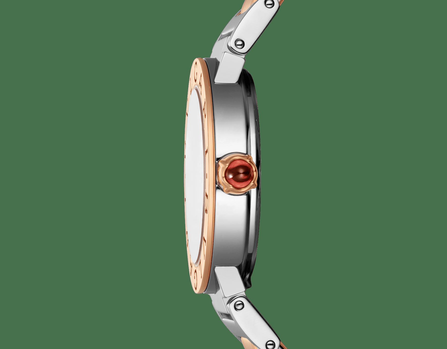 Montre BVLGARI BVLGARI avec boîtier et bracelet en or rose 18K et acier inoxydable, cadran laqué brun soleil et index sertis de diamants. Petit modèle. 102155 image 3