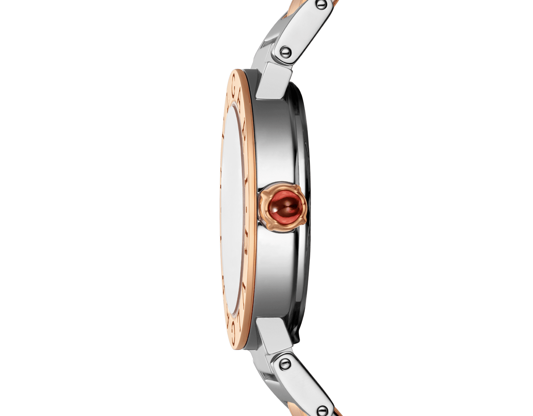 BVLGARI BVLGARI 腕錶,精鋼和 18K 玫瑰金錶殼和錶帶,棕色太陽紋漆面錶盤,鑽石時標。S 尺寸。 102155 image 3