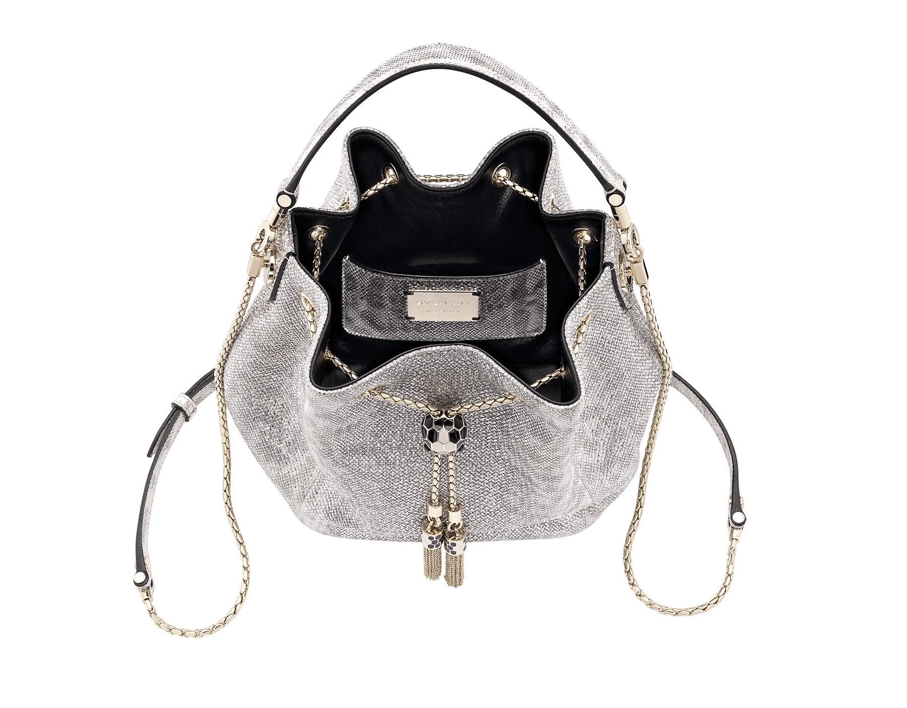 Bucket Serpenti Forever in white agate metallic karung and black internal lining. Hardware in light gold plated brass and snake head closure in black and white enamel, with eyes in black onyx. 289289 image 4