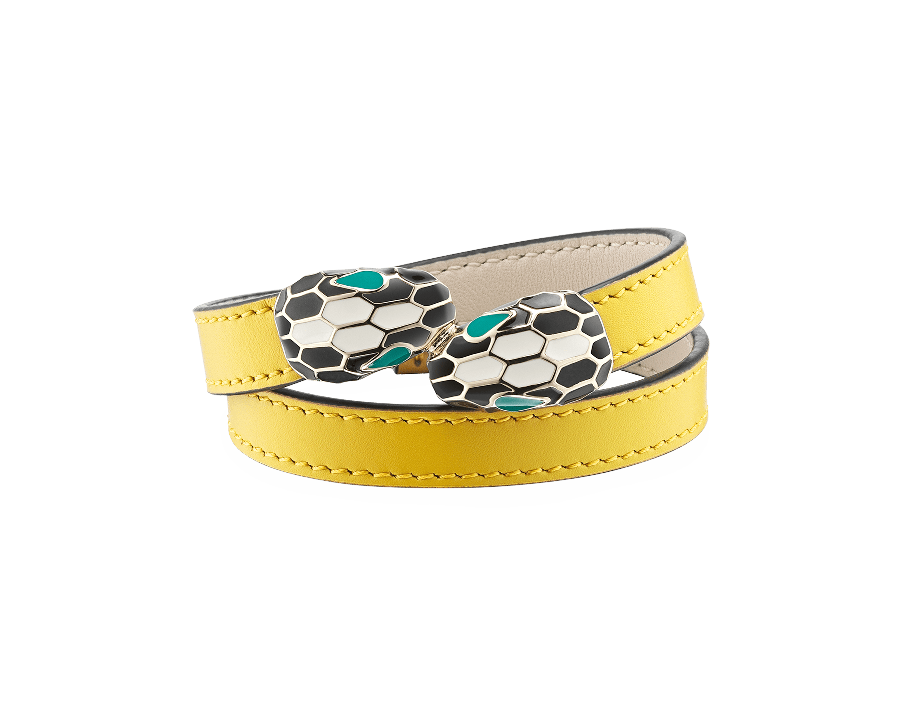 Serpenti Forever multi-coiled bracelet in daisy topaz calf leather, with light gold plated brass hardware. Iconic contraire snakehead décor in black and white agate enamel, with emerald green enamel eyes. MCSerp-CL-DT image 1