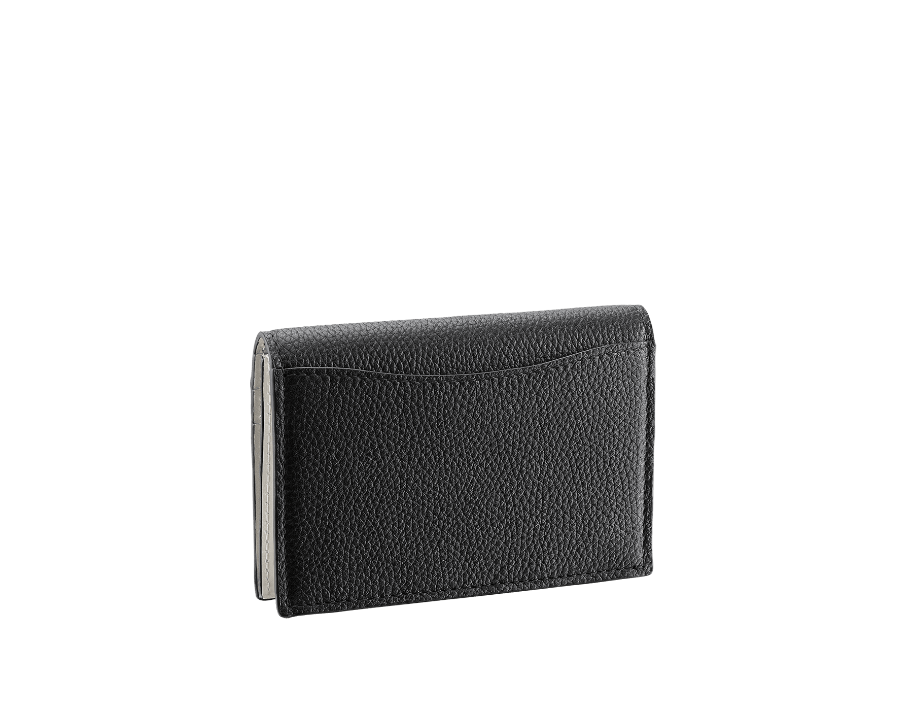 """BVLGARI BVLGARI"" business card holder in black soft full grain calf leather and white agate calf leather, with brass palladium plated logo décor coloured in white agate enamel. 290081 image 3"