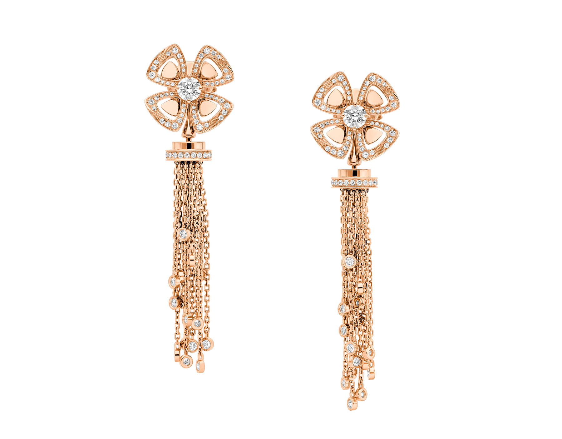 Fiorever 18 kt rose gold pendant earring, set with round brilliant-cut diamonds and pavé diamonds. 357322 image 1