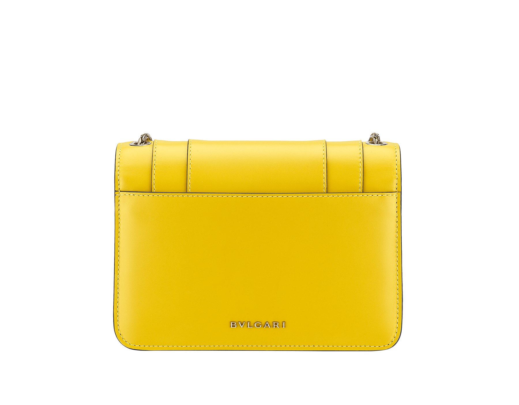 """Serpenti Forever"" crossbody bag in daisy topaz calf leather. Iconic snake head closure in light gold plated brass enriched with black and white enamel and green malachite eyes. 289672 image 3"