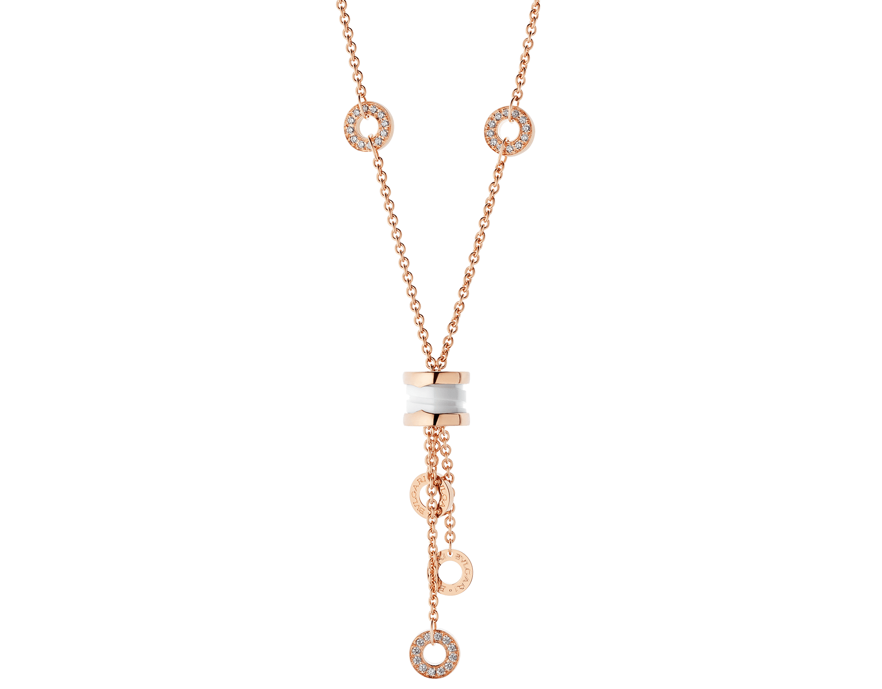 B.zero1 necklace with 18 kt rose gold chain set with pavé diamonds and pendant in 18 kt rose gold and white ceramic. 347577 image 1