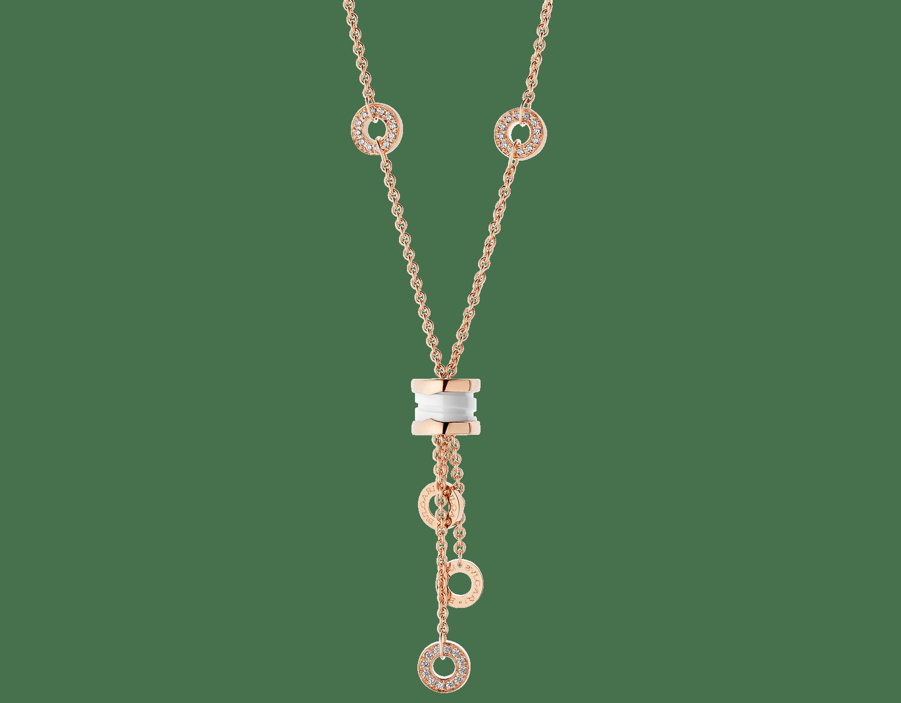 Colar B.zero1 com corrente em ouro rosa 18K cravejada com pavê de diamantes, pingente em ouro rosa 18K e cerâmica branca. 347577 image 1