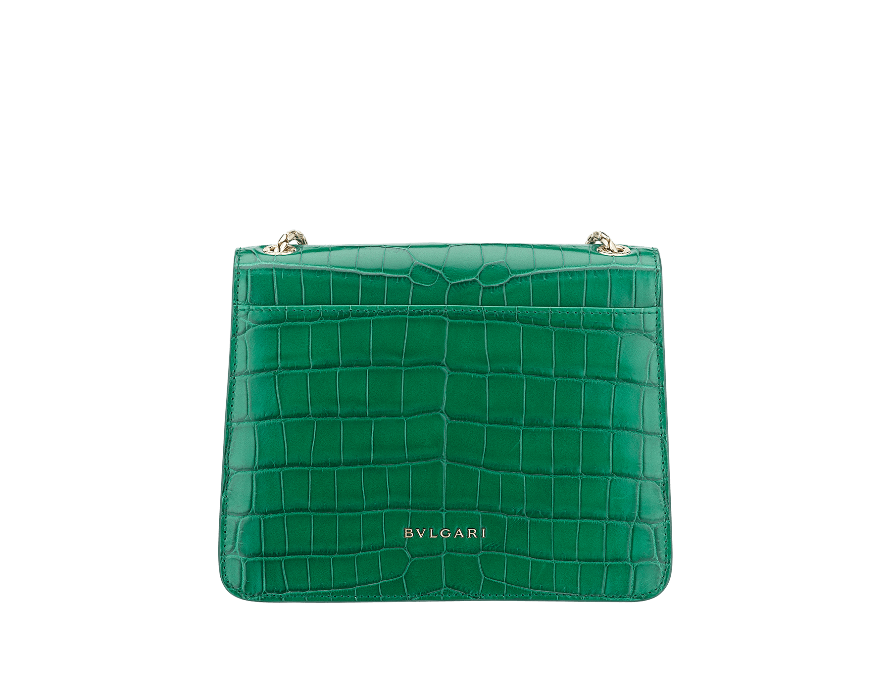 """Serpenti Forever"" crossbody bag in white agate crocodile skin with an iridescent and pearled effect. Iconic snake head closure in light gold plated brass enriched with black enamel and mother-of-pearl scales, and blue lapis lazuli eyes. 422-CR image 3"