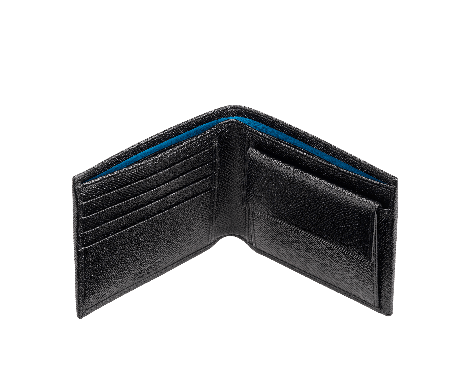 """BVLGARI BVLGARI"" compact wallet in Pluto Stone grey grained calf leather and Denim Sapphire blue grained calf leather. Iconic logo-bearing embellishment in palladium-plated brass. BBM-WLT-ITAL-gcl image 2"