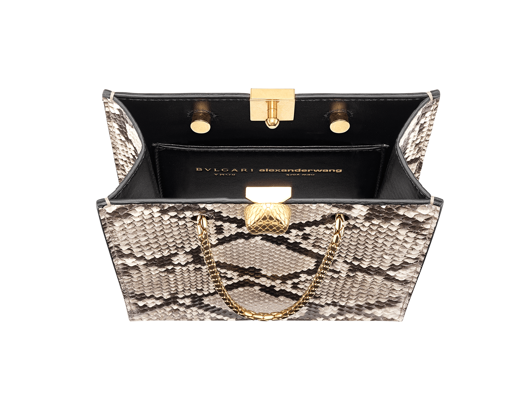 Alexander Wang x Bvlgari mini shopping tote bag in natural python skin and black calf leather. New Serpenti head closure in antique gold plated brass with tempting red enamel eyes. Limited edition. 288732 image 4
