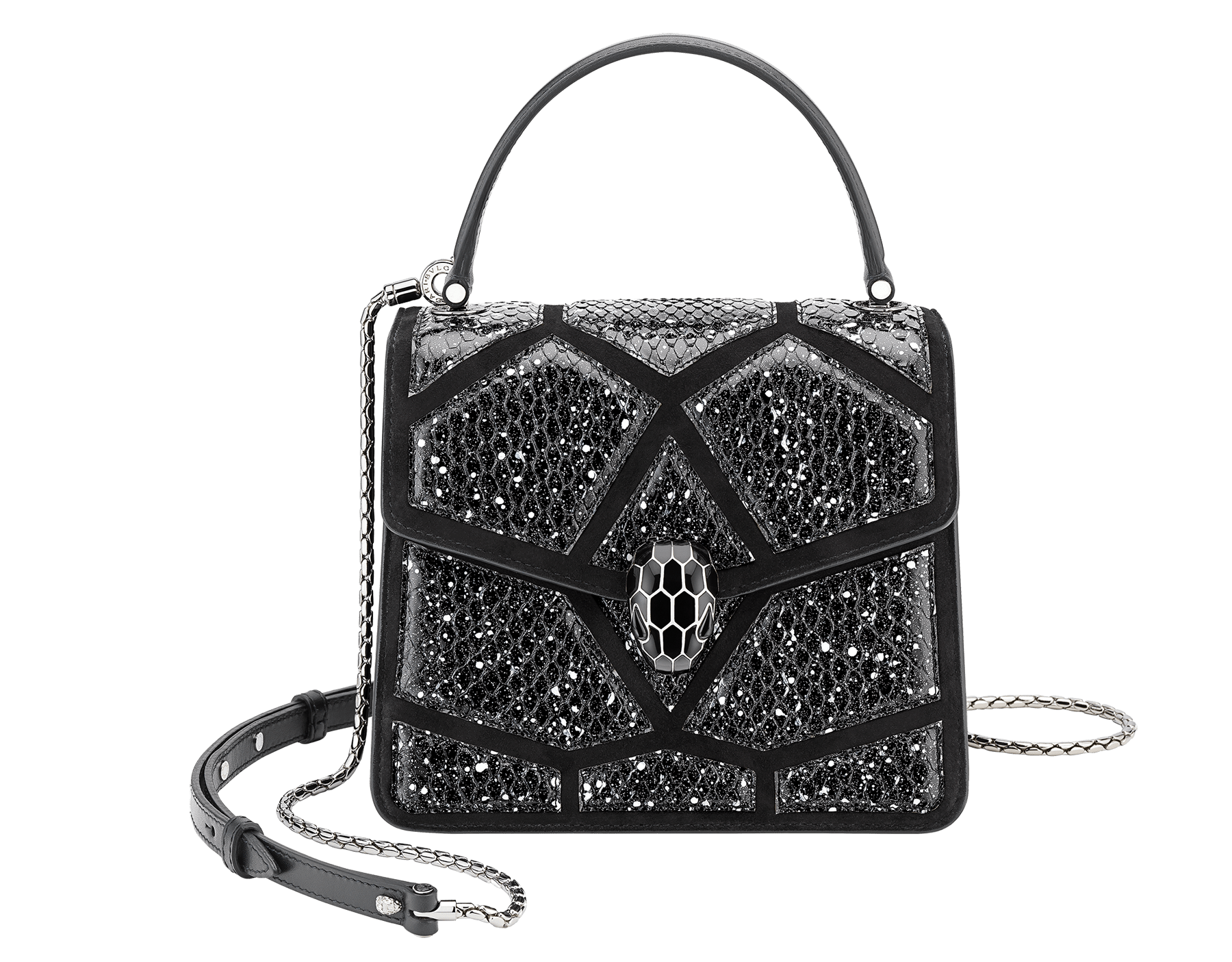 Serpenti Forever crossbody bag in black and white Stardust Cosmic python skin and black calf leather. Snakehead closure in palladium plated brass decorated with black enamel, and black onyx eyes. 288223 image 1