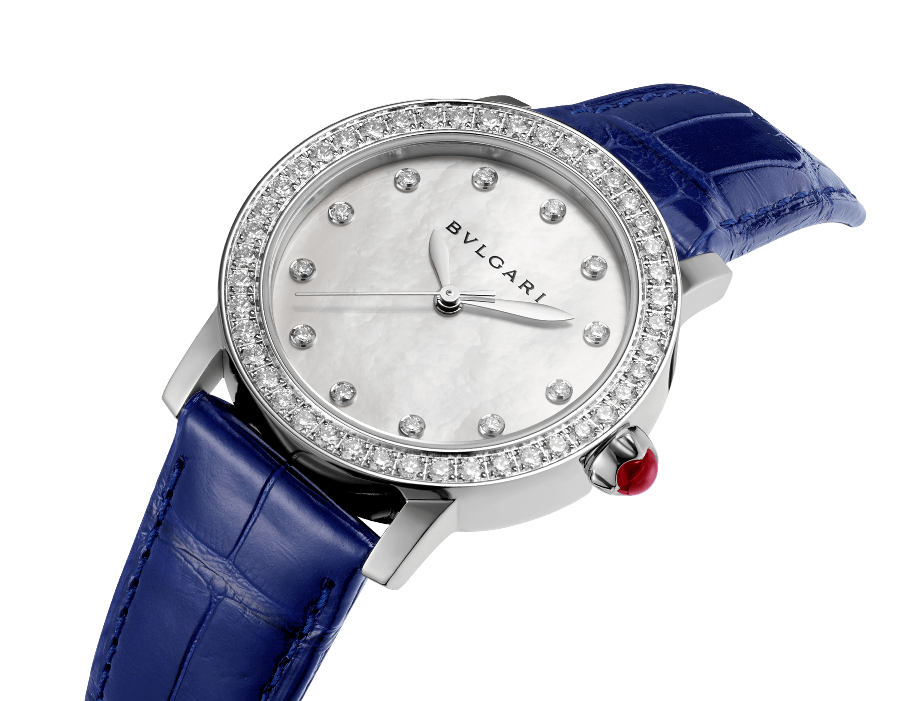 BVLGARI BVLGARI watch with stainless steel case set with brilliant-cut diamonds, mother-of-pearl dial, diamond indexes and shiny blue alligator bracelet 102721 image 2