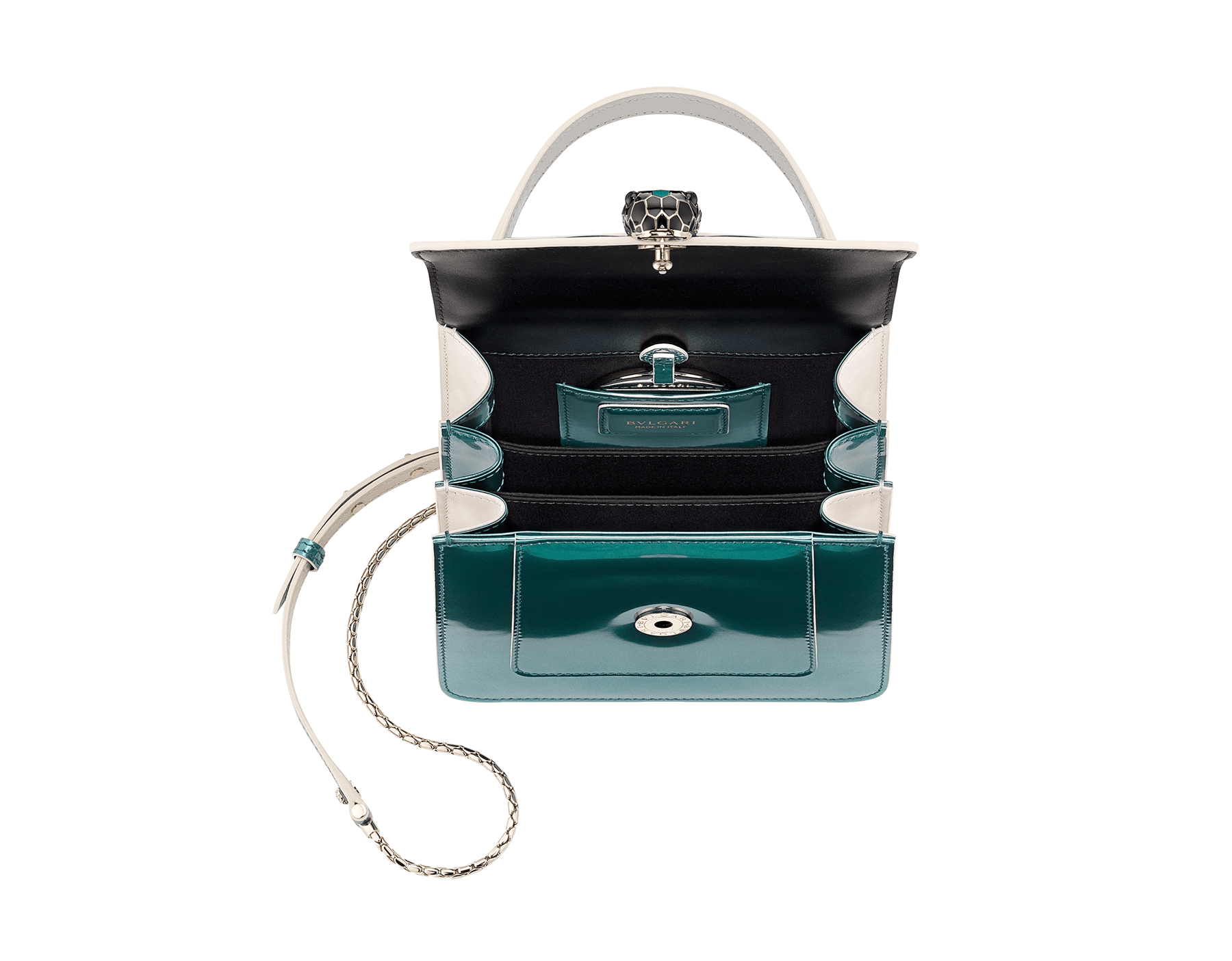 """Serpenti Forever "" crossbody bag in brushed metallic arctic jade calf leather body and brushed metallic arctic jade calf leather and white agate calf leather sides. Iconic snakehead closure in light gold plated brass enriched with black and arctic jade enamel and black onyx eyes. 289485 image 4"