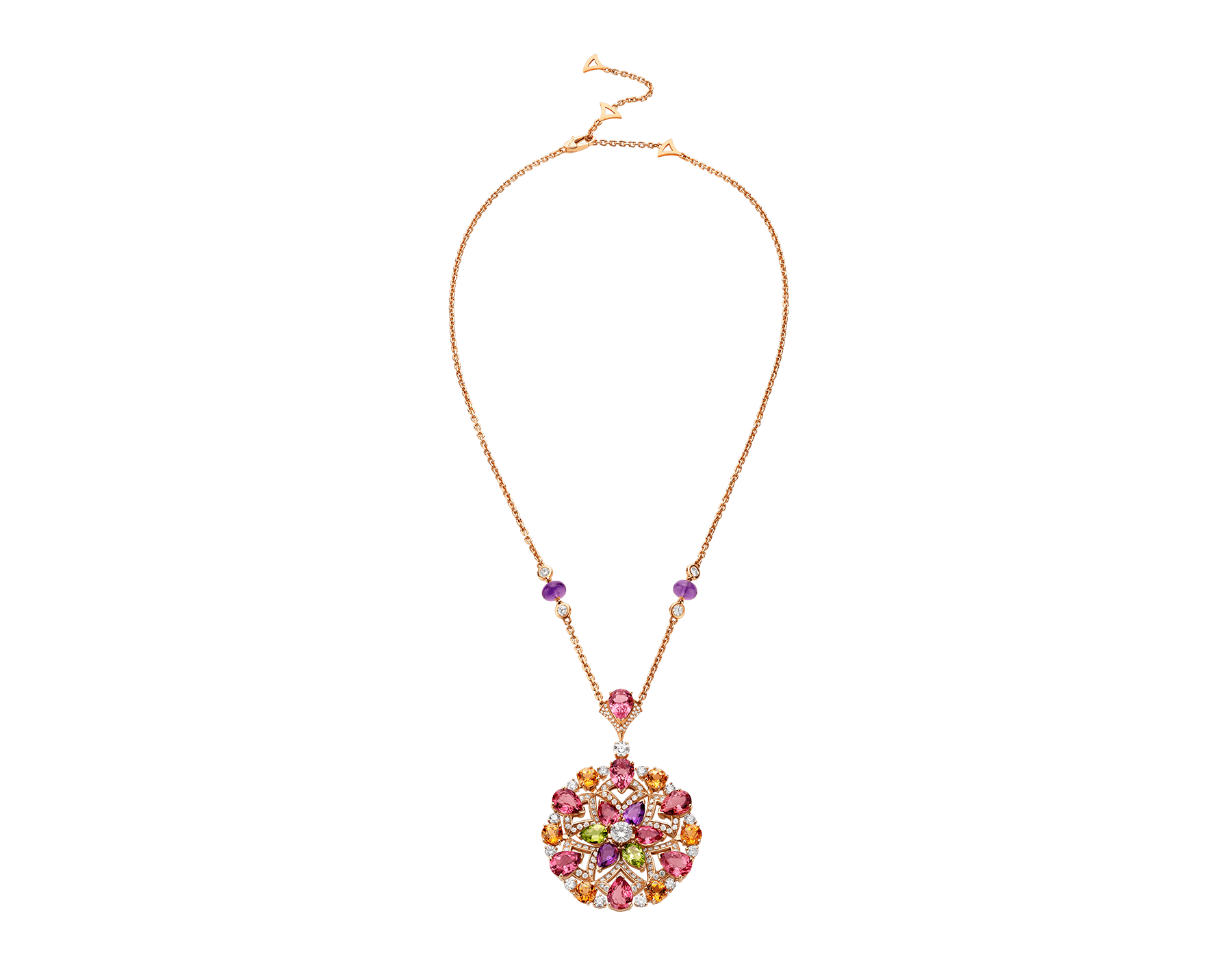 DIVAS' DREAM 18 kt rose gold necklace set with coloured gemstones, brilliant-cut and pavé diamonds. 355907 image 1