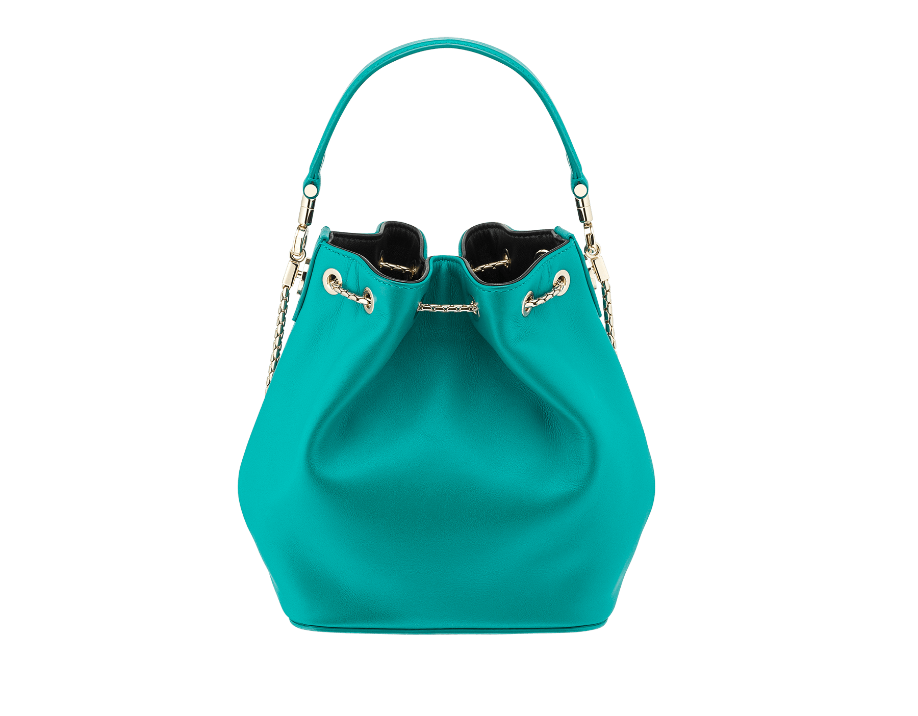 Serpenti Forever bucket bag in tropical turquoise smooth calf leather and black nappa inner lining. Snakehead closure in light gold plated brass decorated with black and white enamel, and black onyx eyes. 287981 image 3