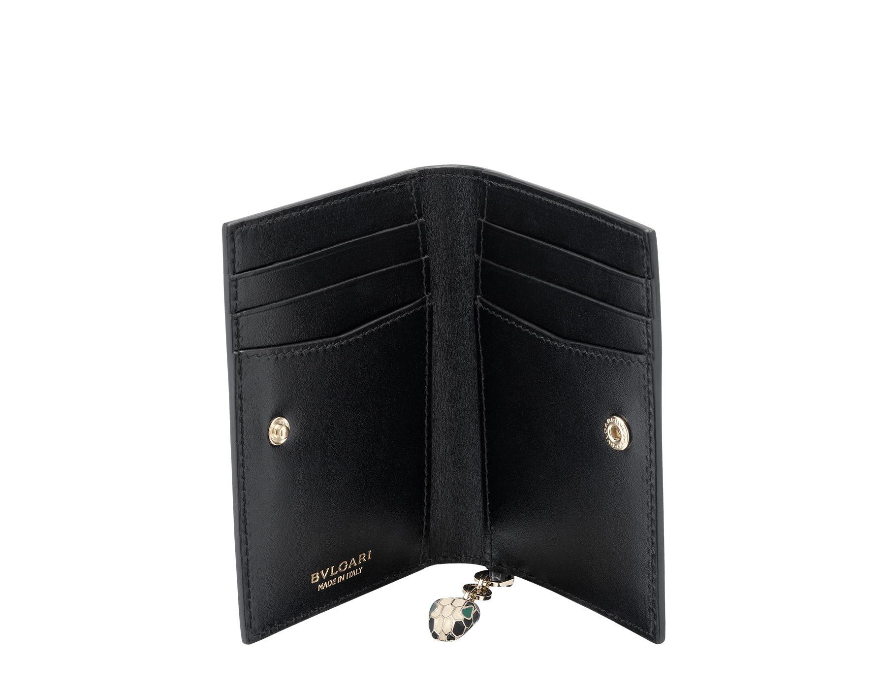 Folded credit card holder in frosted silver brushed metallic calf leather and black calf leather, with brass light gold plated hardware and stud closure. Serpenti head charm in black and white enamel with malachite enamel eyes. Six credit card slots and two compartments. Also available in other colours. 8 x 11,5 cm. - 3.1 x 4.5 282034 image 2