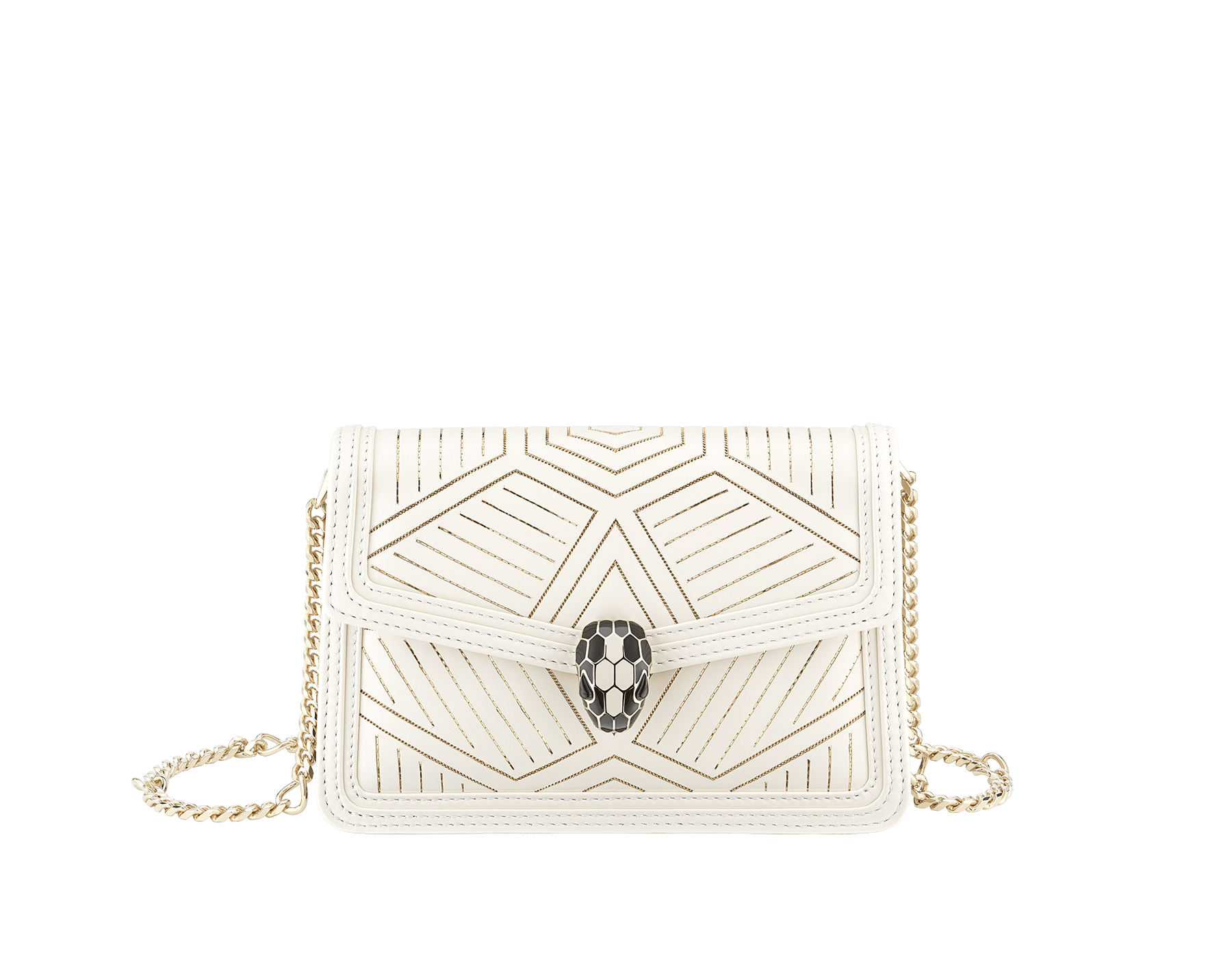 """Serpenti Diamond Blast"" shoulder bag in white agate calf leather, featuring a Whispy Chain motif in light gold finishing. Iconic snakehead closure in light gold plated brass enriched with black and white agate enamel and black onyx eyes. 288986 image 1"