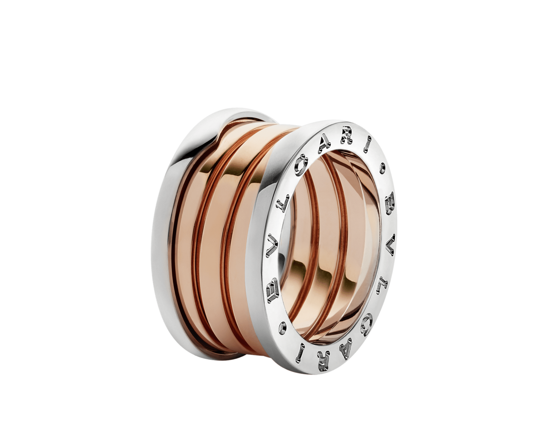 B.zero1 four-band ring in 18 kt rose and white gold. B-zero1-4-bands-AN857651 image 1