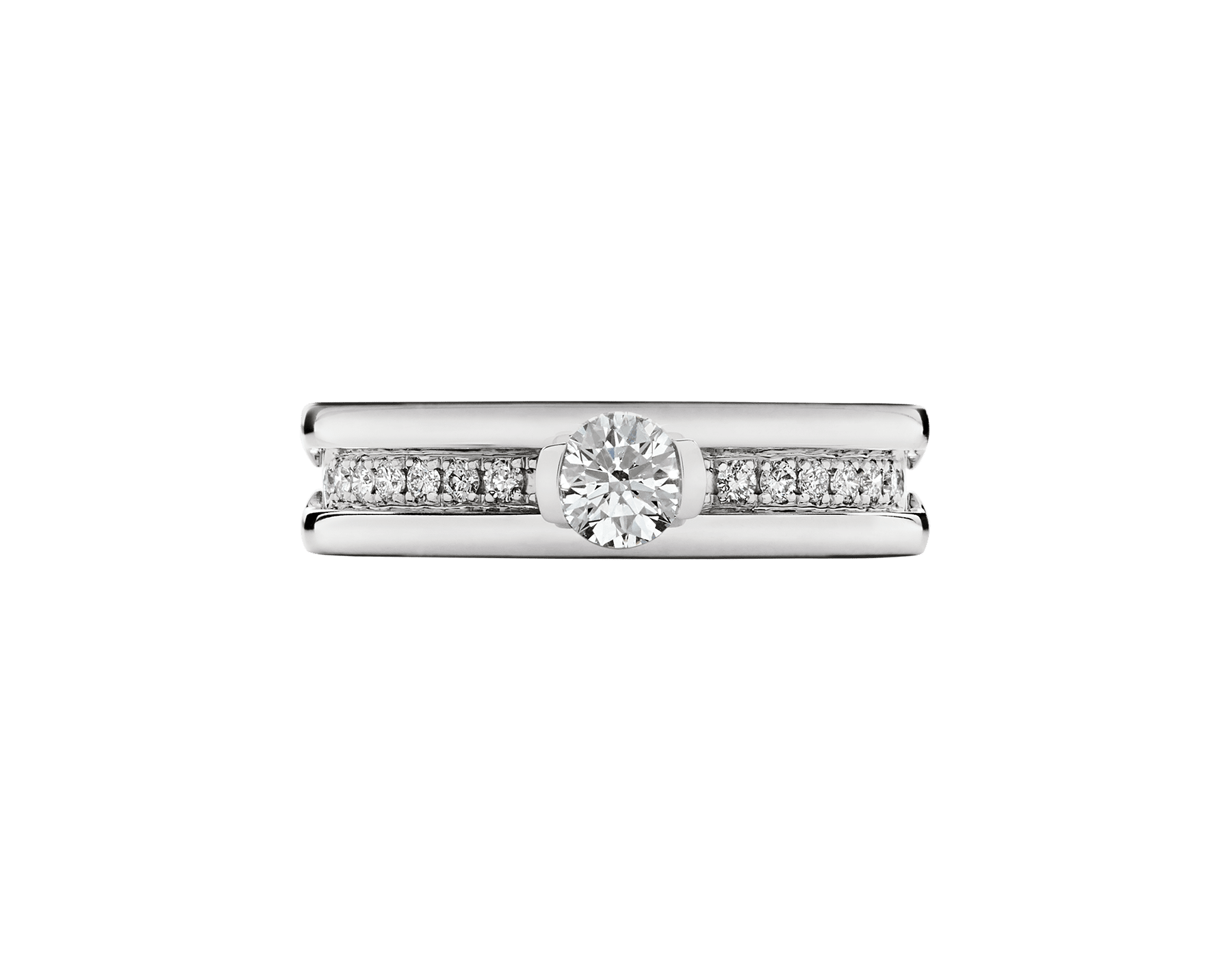 B.zero1 one-band ring in 18 kt white gold set with pavé diamonds on the spiral and with one round brilliant cut diamond. Available in 0.30 ct. 335980 image 3