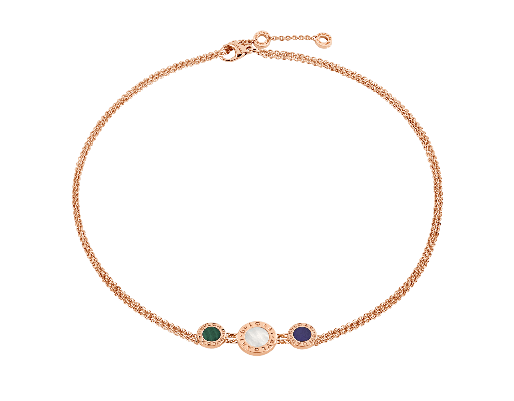 BVLGARI BVLGARI choker necklace in 18 kt rose gold set with malachite, mother-of-pearl and sugilite elements 356649 image 1