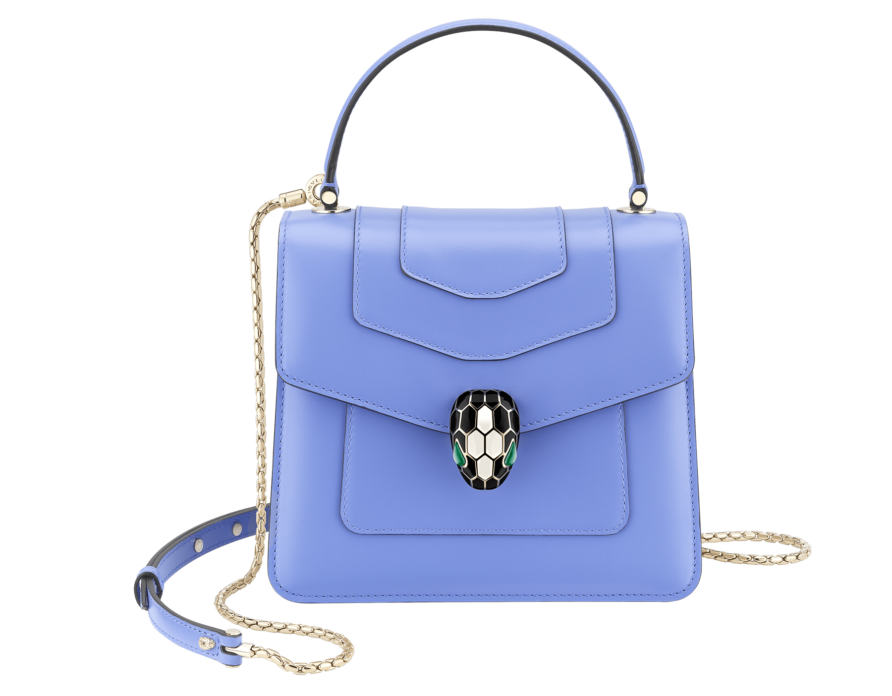 """Serpenti Forever "" top-handle bag in Lavender Amethyst lilac calf leather with Reef Coral red grosgrain inner lining. Iconic snakehead closure in light gold-plated brass embellished with black and white agate enamel and green malachite eyes 290517 image 1"
