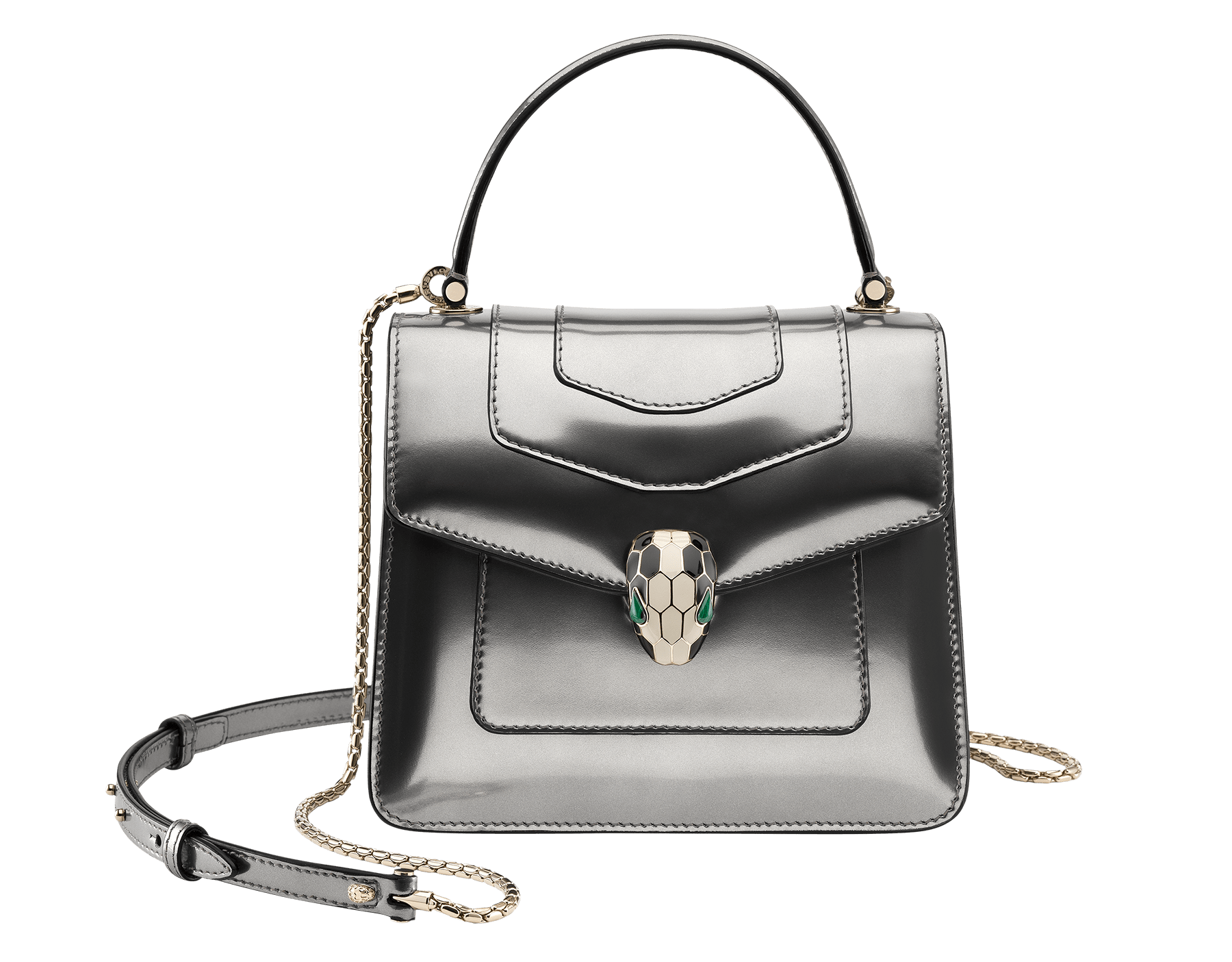 Flap cover bag Serpenti Forever in antique bronze brushed metallic calf leather. Brass light gold plated hardware and snake head closure in black and white enamel with eyes in green malachite. Test-Borse-Colore image 1