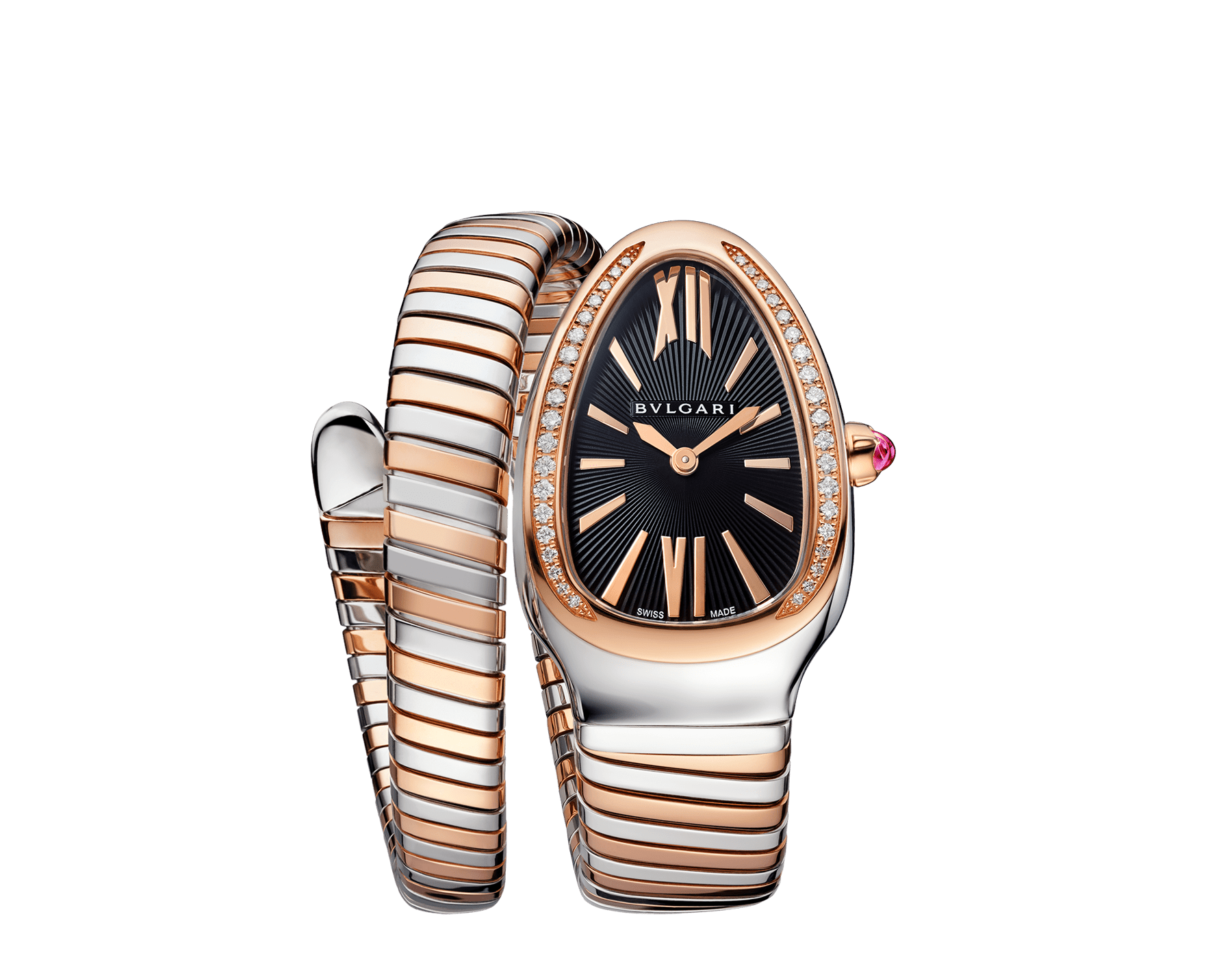 Serpenti Tubogas single spiral watch with stainless steel case, 18 kt rose gold bezel set with brilliant cut diamonds, black opaline dial, 18 kt rose gold and stainless steel bracelet. 102098 image 1