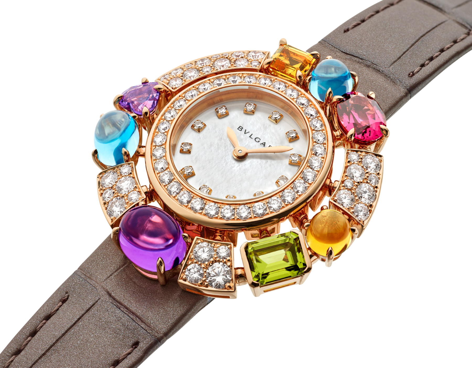 Allegra High Jewelry watch with 18 kt rose gold case set with brilliant-cut diamonds, two citrines, two amethysts, a peridot, two blue topazes and a rhodolite, mother-of-pearl dial, diamond indexes and shiny taupe alligator bracelet. Water-resistant up to 30 meters. 103493 image 2