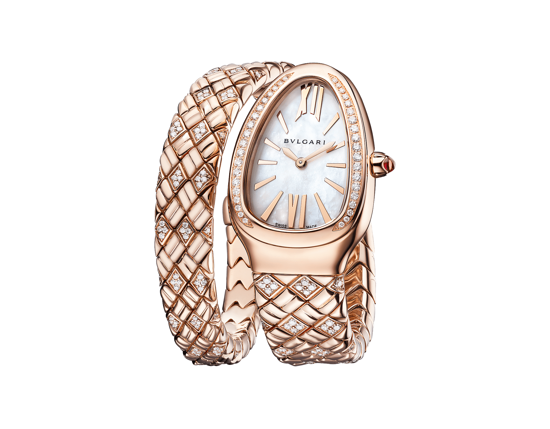Serpenti Spiga single-spiral watch with 18 kt rose gold case and bracelet set with diamonds, and white mother-of-pearl dial 103250 image 2