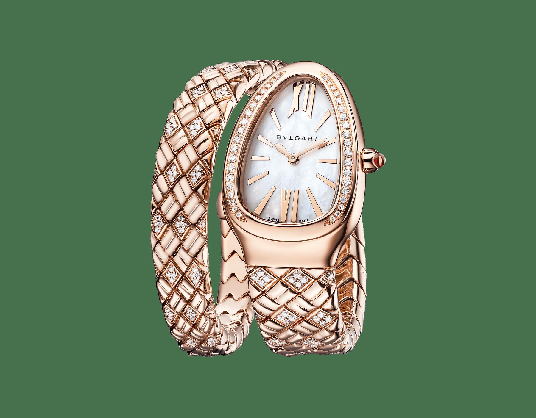 Einfach geschwungene Serpenti Spiga Uhr mit Gehäuse und Armband aus 18Karat Roségold mit Diamanten sowie einem Zifferblatt aus weißem Perlmutt 103250 image 2