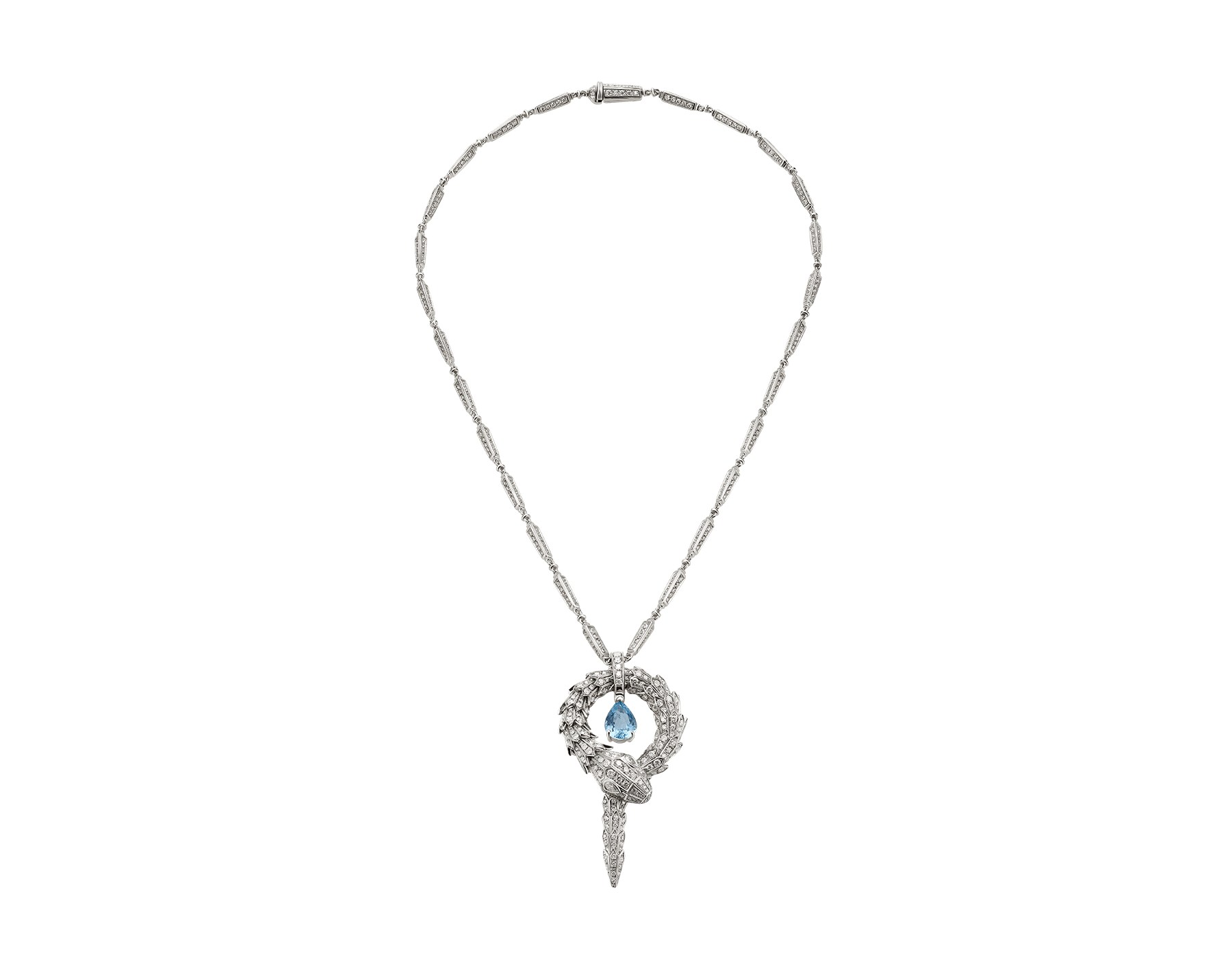 Serpenti small pendant in 18 kt white gold with aquamarine and pavé diamonds. 354090 image 1