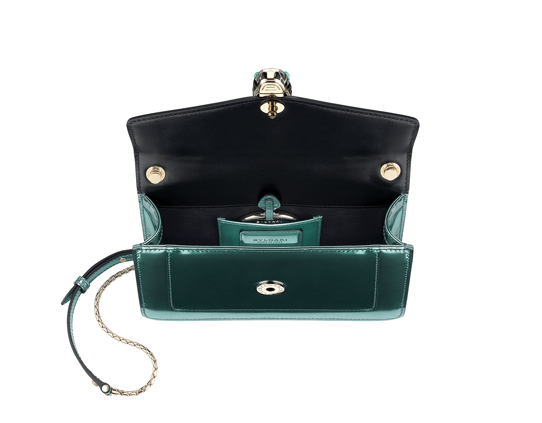 """""""Serpenti Forever """" crossbody bag in glacier turquoise brushed metallic calf leather. Iconic snakehead closure in light gold plated brass enriched with black and white enamel and green malachite eyes. 287048 image 2"""