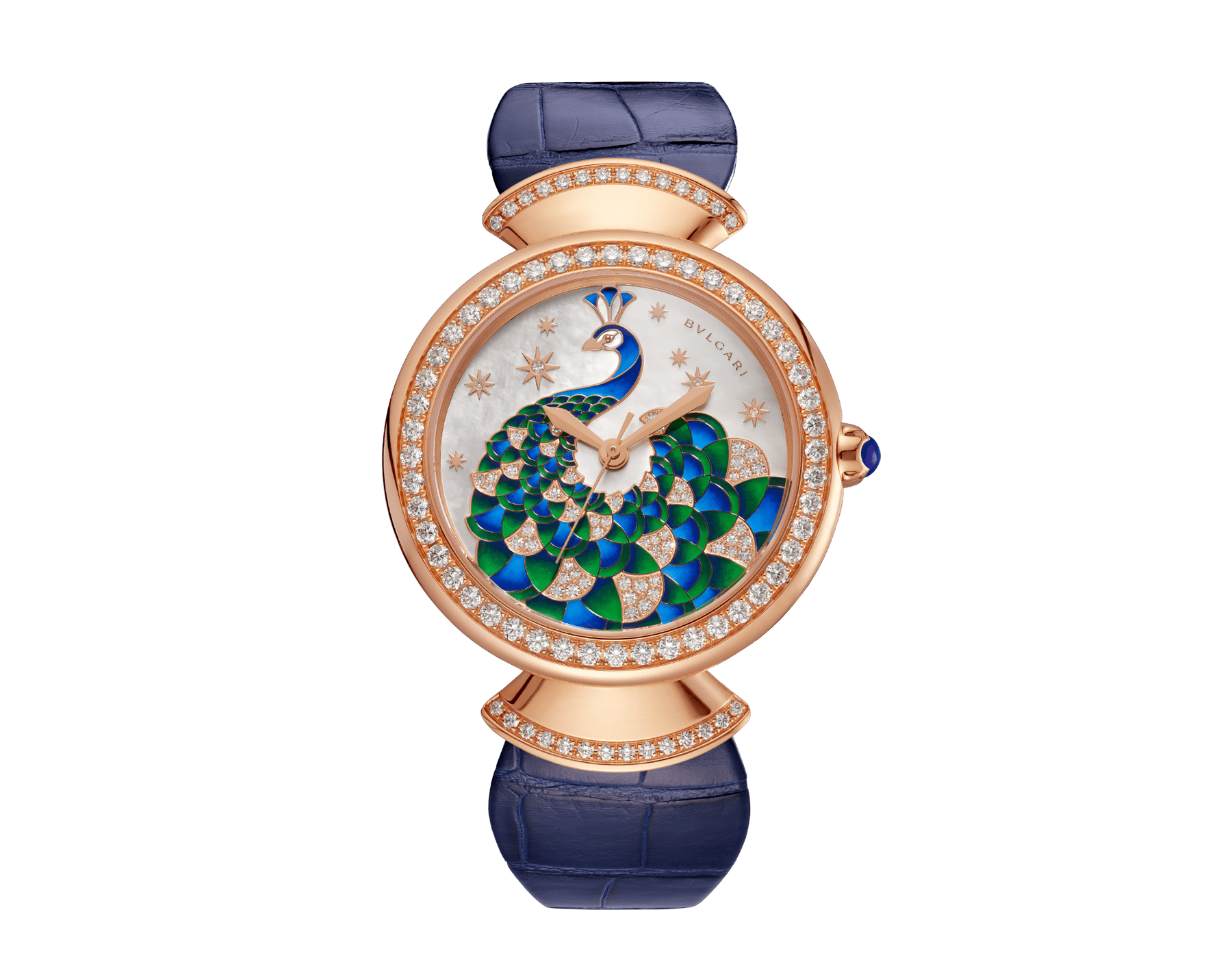 DIVAS' DREAM watch with 18 kt rose gold case set with brilliant-cut diamonds, mother-of-pearl dial with hand-painted peacock set with diamonds and dark blue alligator bracelet 102741 image 1