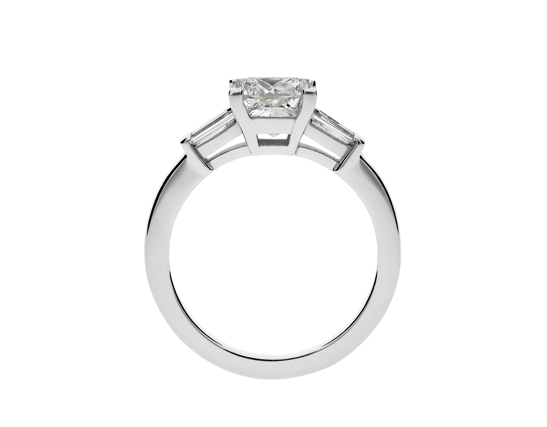 Griffe solitaire ring in platinum with princess cut diamond and two side diamonds. Available in 1 ct. A classic setting that allows the beauty and the pureness of the solitaire diamond to assert itself. 338560 image 3