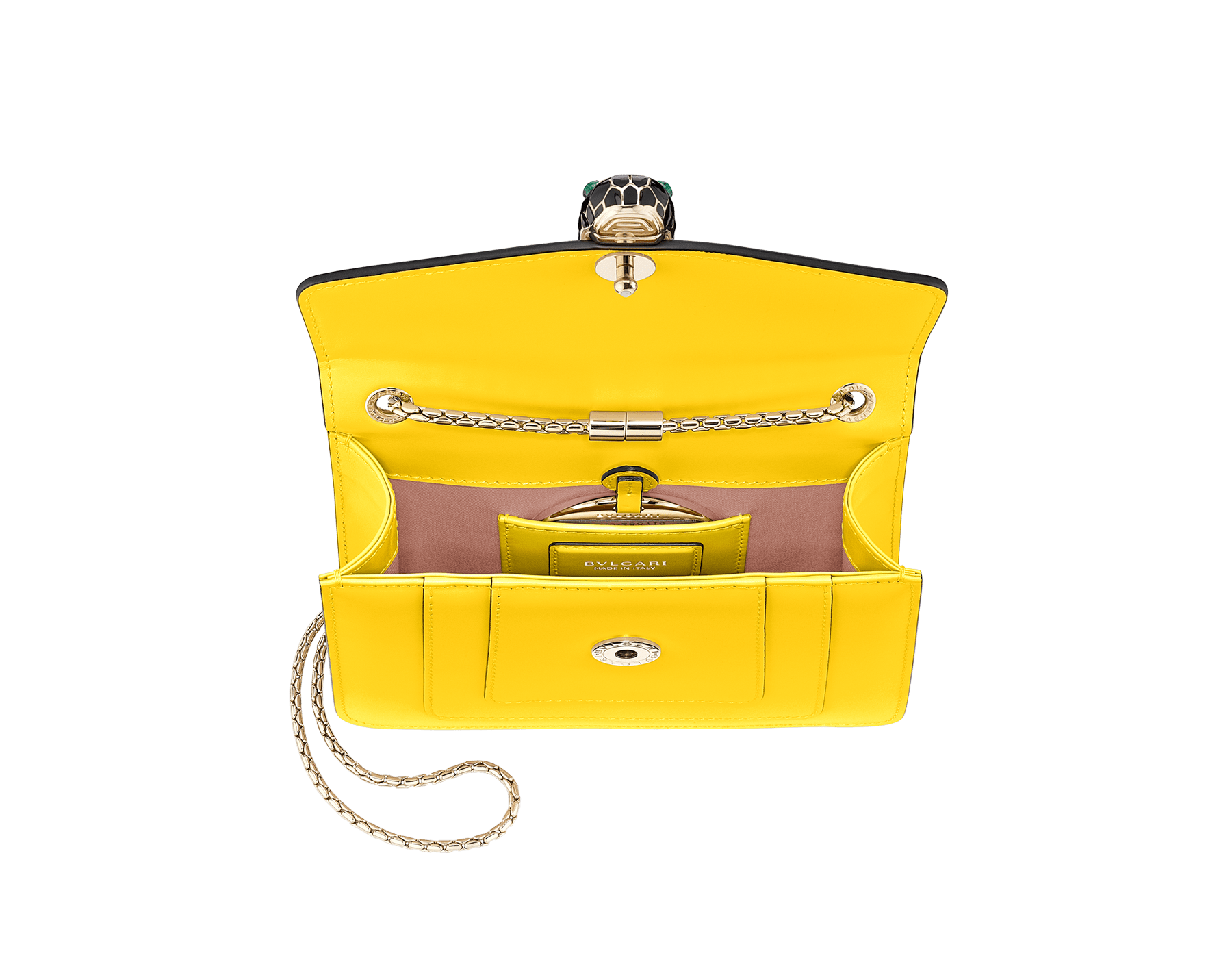 """Serpenti Forever"" crossbody bag in daisy topaz calf leather. Iconic snakehead closure in light gold plated brass enriched with black and white agate enamel, and green malachite eyes. 289650 image 4"