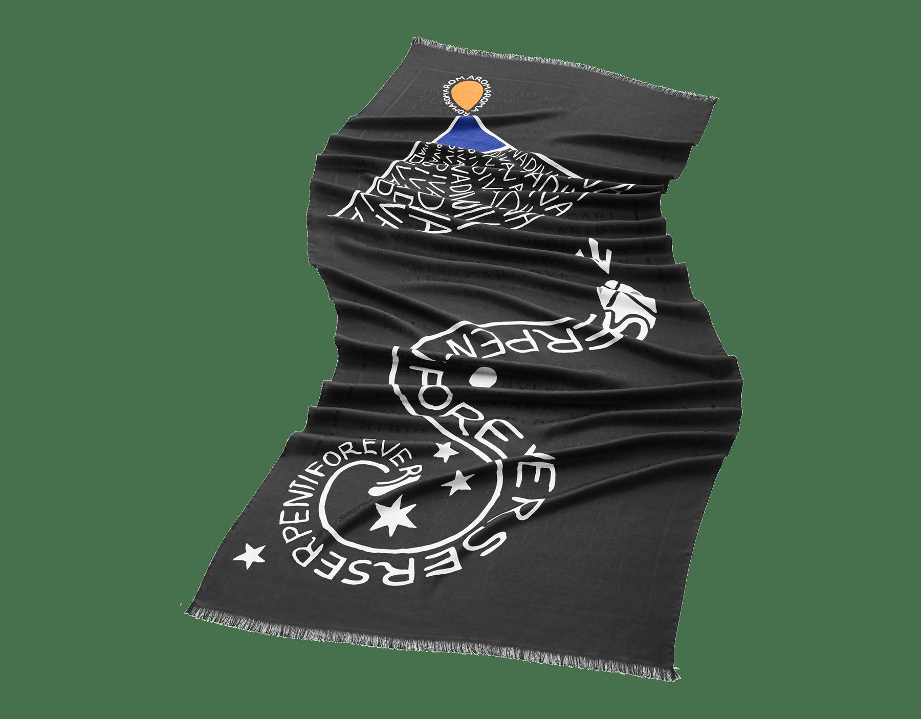 Stola Maxi OnomatoBvlgari nera in lana pregiata. 243522 image 1