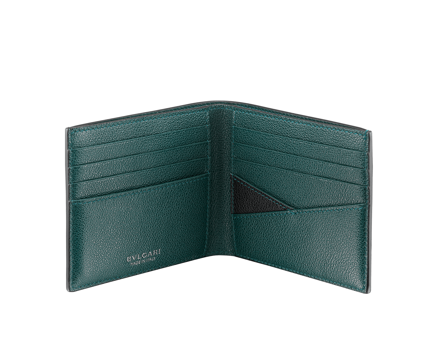 """""""BVLGARI BVLGARI"""" men's compact wallet in black and Forest Emerald green """"Urban"""" grain calf leather. Iconic logo embellishment in dark ruthenium-plated brass with black enameling. BBM-WLT2FASYM image 2"""