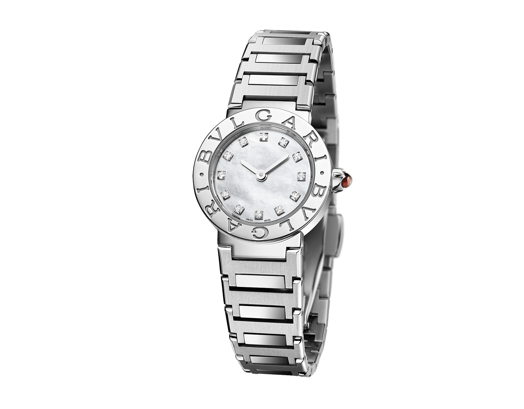 BVLGARI BVLGARI LADY watch in stainless steel case and bracelet, stainless steel bezel engraved with double logo, white mother-of-pearl dial and diamond indexes 103095 image 2