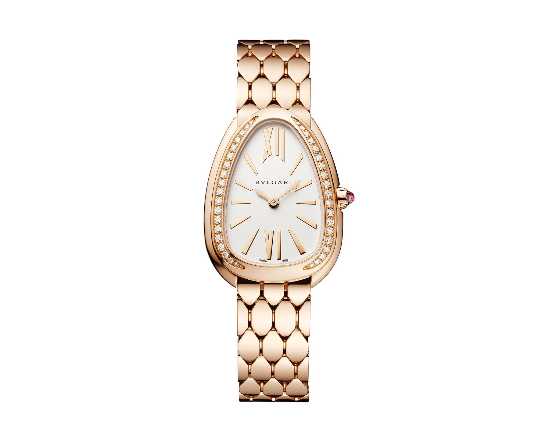 Serpenti Seduttori watch with 18 kt rose gold case, 18 kt rose gold bracelet, 18 kt rose gold bezel set with diamonds and a white silver opaline dial. 103146 image 1