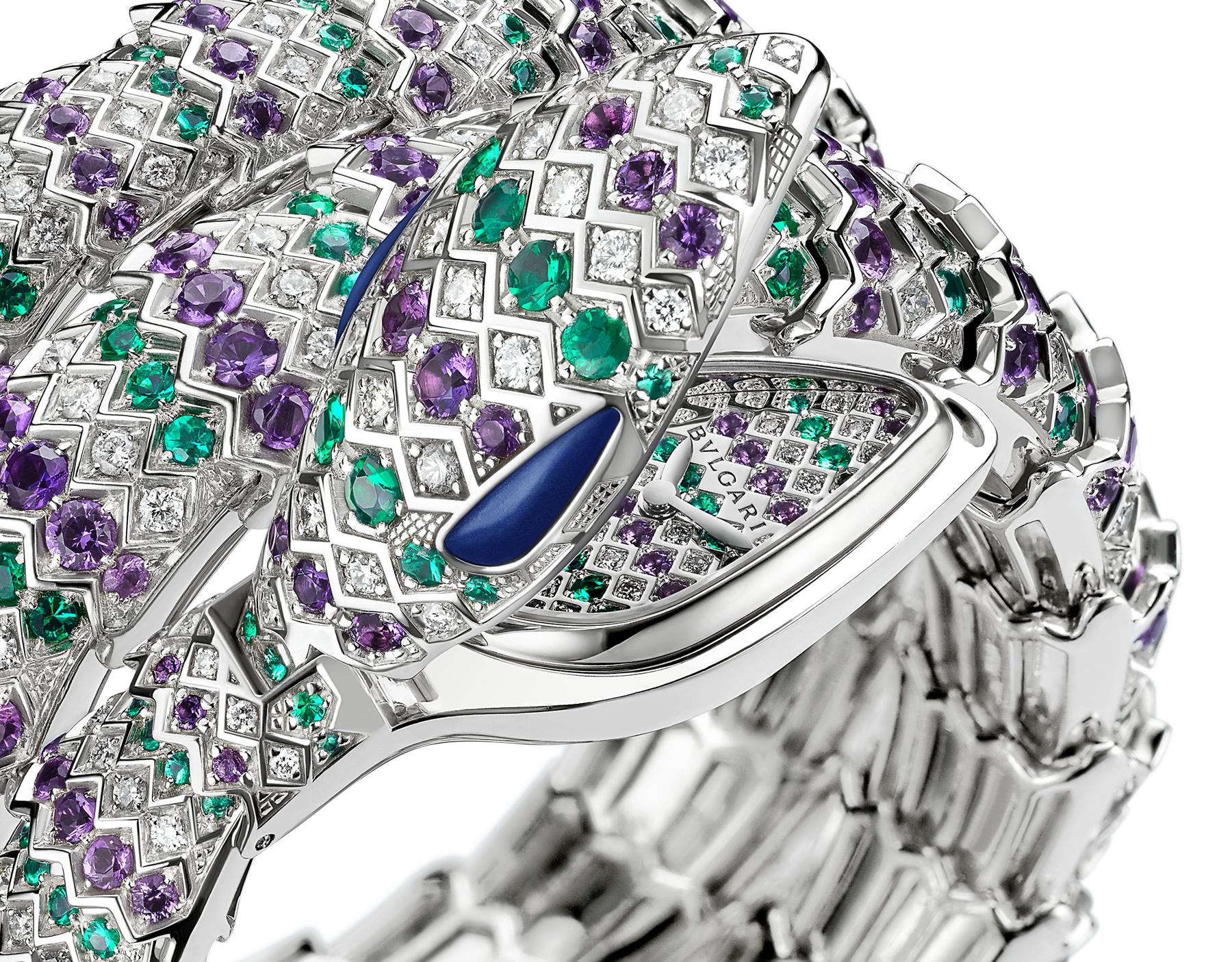 Serpenti Secret Watch with 18 kt white gold head set with brilliant cut diamonds, amethysts emeralds and malachite eyes, 18 kt white gold case, 18 kt white gold dial and double spiral bracelet, both set with brilliant cut diamonds, amethysts and emeralds. 101864 image 2