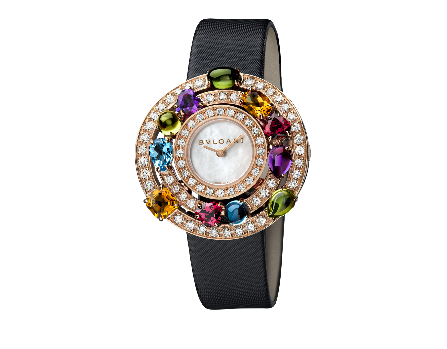 Astrale watch with 18 kt rose gold case set with brilliant-cut diamonds and fancy-cut coloured gemstones, white mother-of-pearl dial and black satin bracelet 102011 image 1