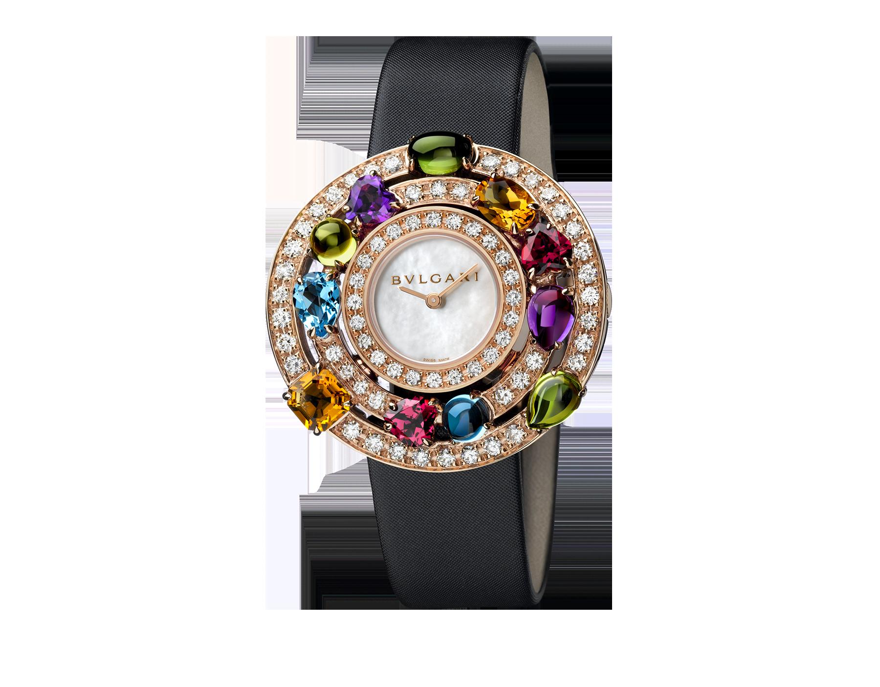 Часы Astrale, корпус из розового золота 18 карат, бриллианты классической огранки, цветные драгоценные камни фантазийной огранки, белый перламутровый циферблат, черный атласный ремешок 102011 image 1