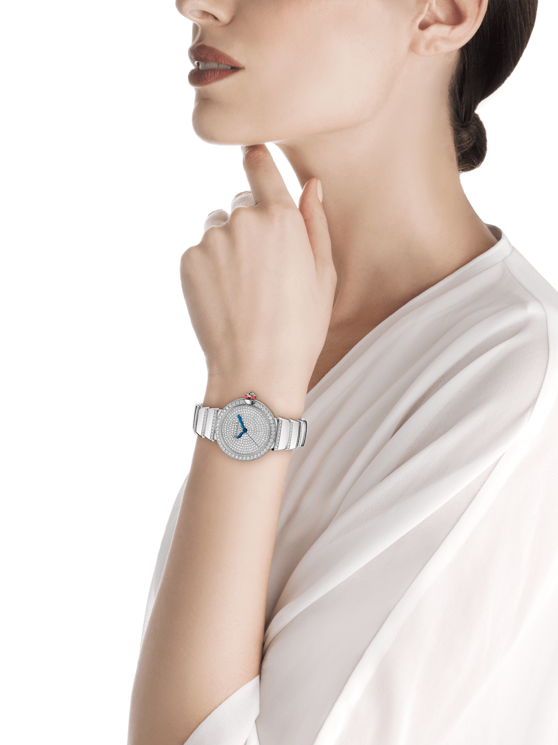 LVCEA watch in 18 kt white gold and brilliant-cut diamond case and bracelet, with full pavé diamond dial. 102380 image 4