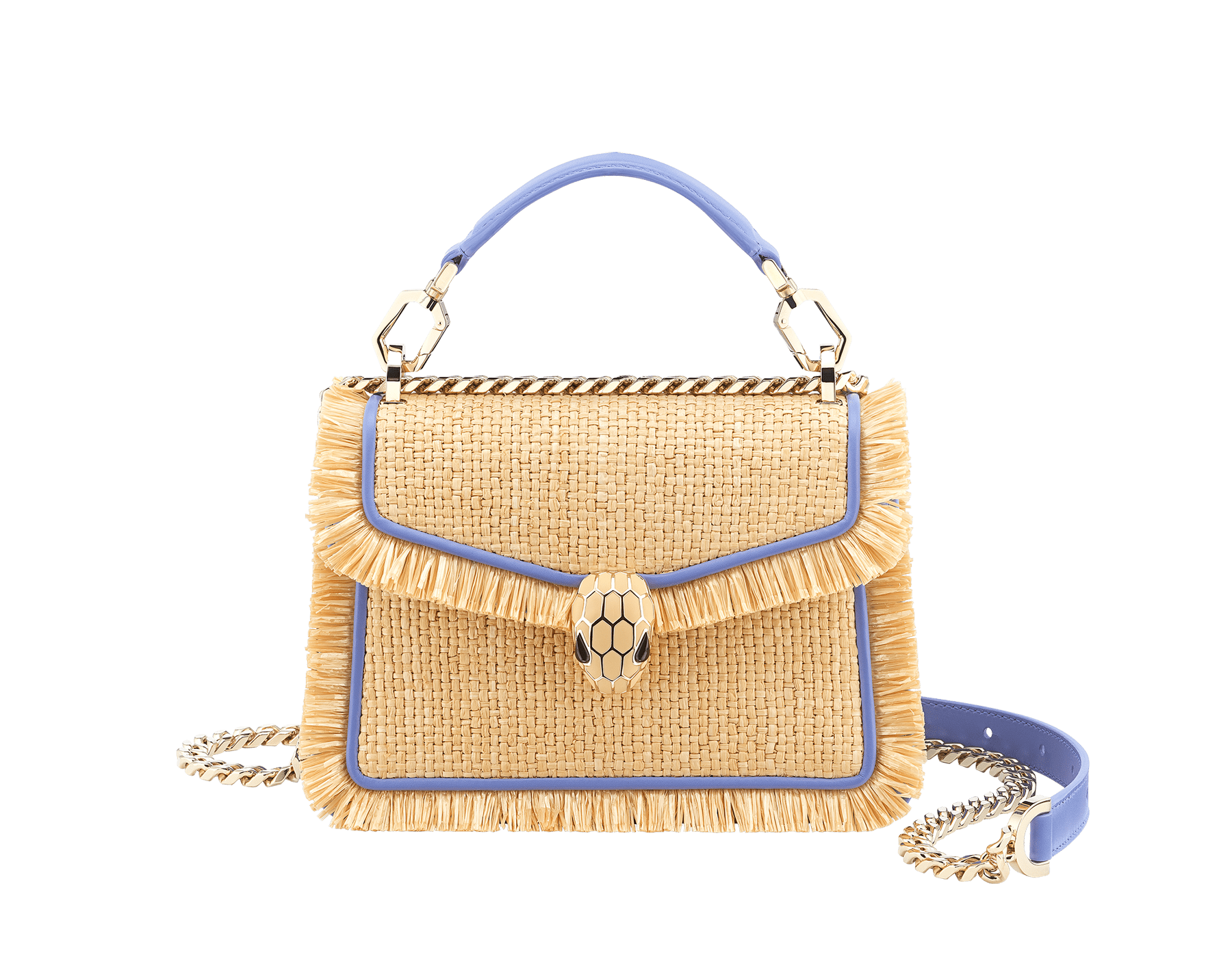 """""""Serpenti Diamond Blast"""" crossbody bag in beige raffia and Lavender Amethyst lilac calfskin frames finished with beige raffia fringes, and Lavender Amethyst lilac nappa leather internal lining. Alluring snakehead closure in light gold-plated brass, enhanced with full matte Natural beige enamel and black onyx eyes. 290907 image 1"""