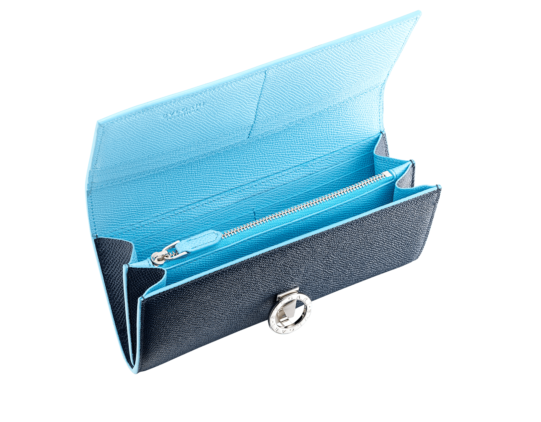 """Bvlgari Clip"" large wallet in Denim Sapphire blue and Aegean Topaz light blue grained calfskin. Iconic logo clip closure in palladium-plated brass 290672 image 2"