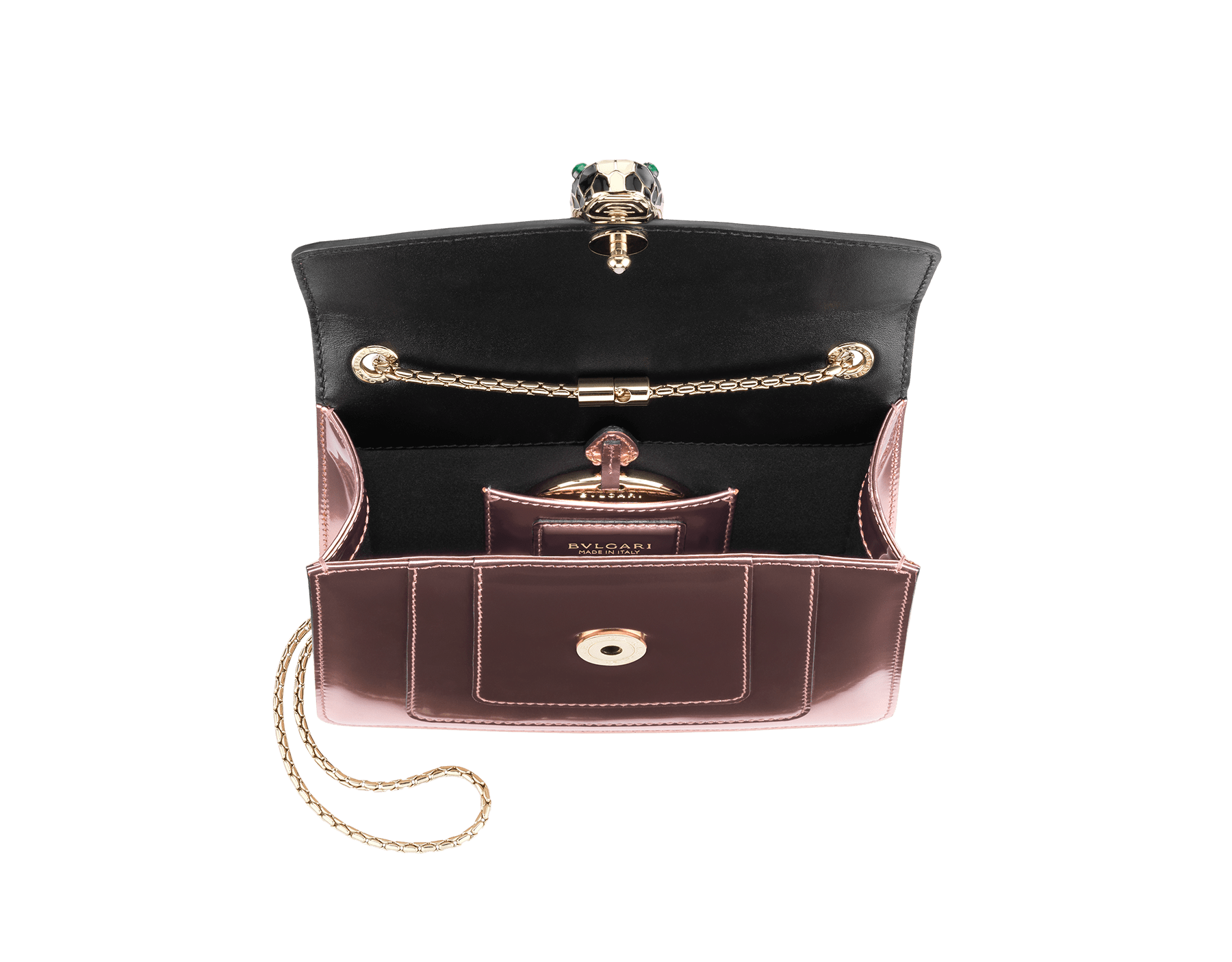 Flap cover bag Serpenti Forever in rose quartz brushed metallic calf leather. Brass light gold plated tempting snake head closure in black and white enamel, with eyes in green malachite. 284800 image 4